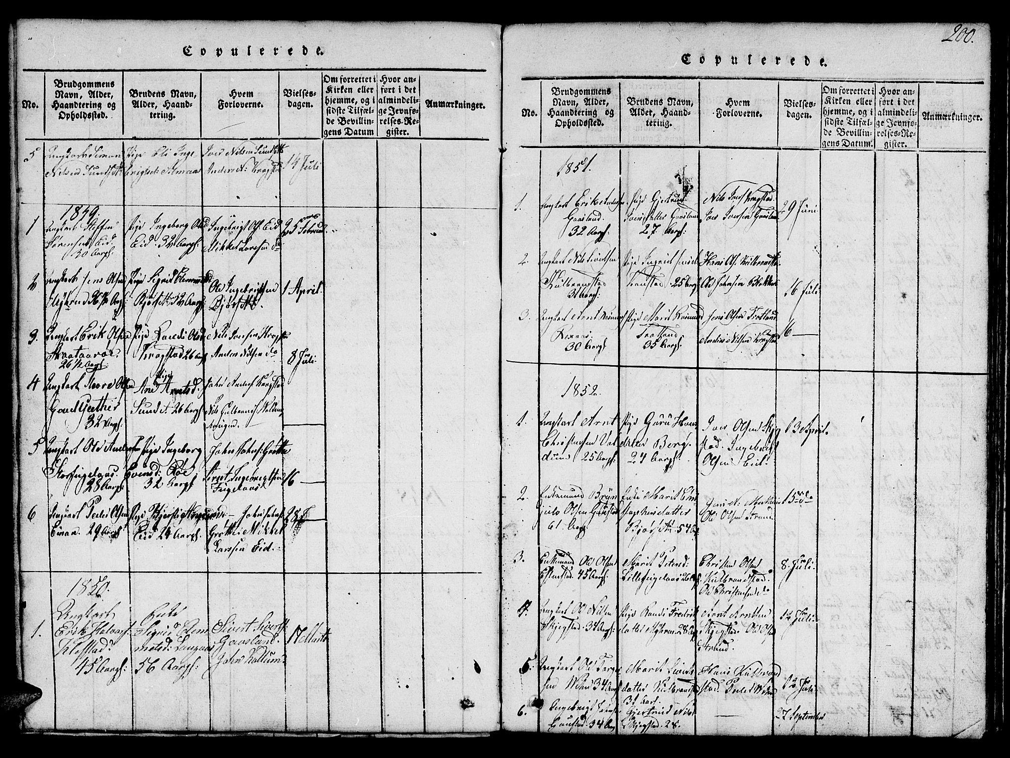 SAT, Ministerialprotokoller, klokkerbøker og fødselsregistre - Sør-Trøndelag, 694/L1130: Klokkerbok nr. 694C02, 1816-1857, s. 200