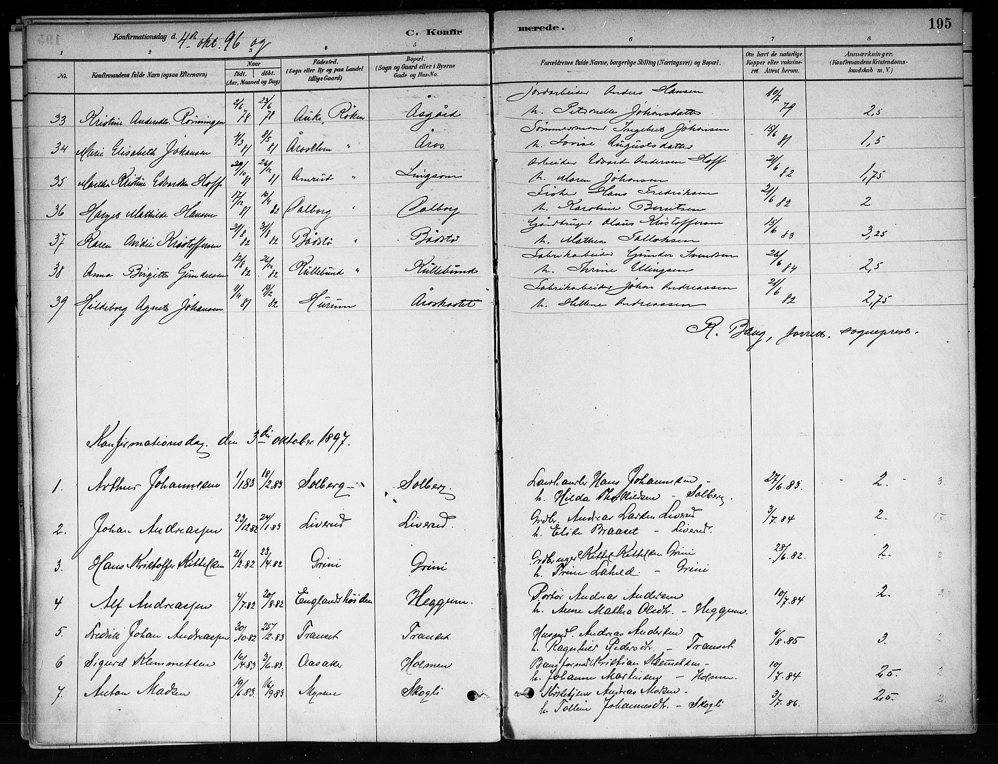 SAKO, Røyken kirkebøker, F/Fa/L0008: Ministerialbok nr. 8, 1880-1897, s. 195