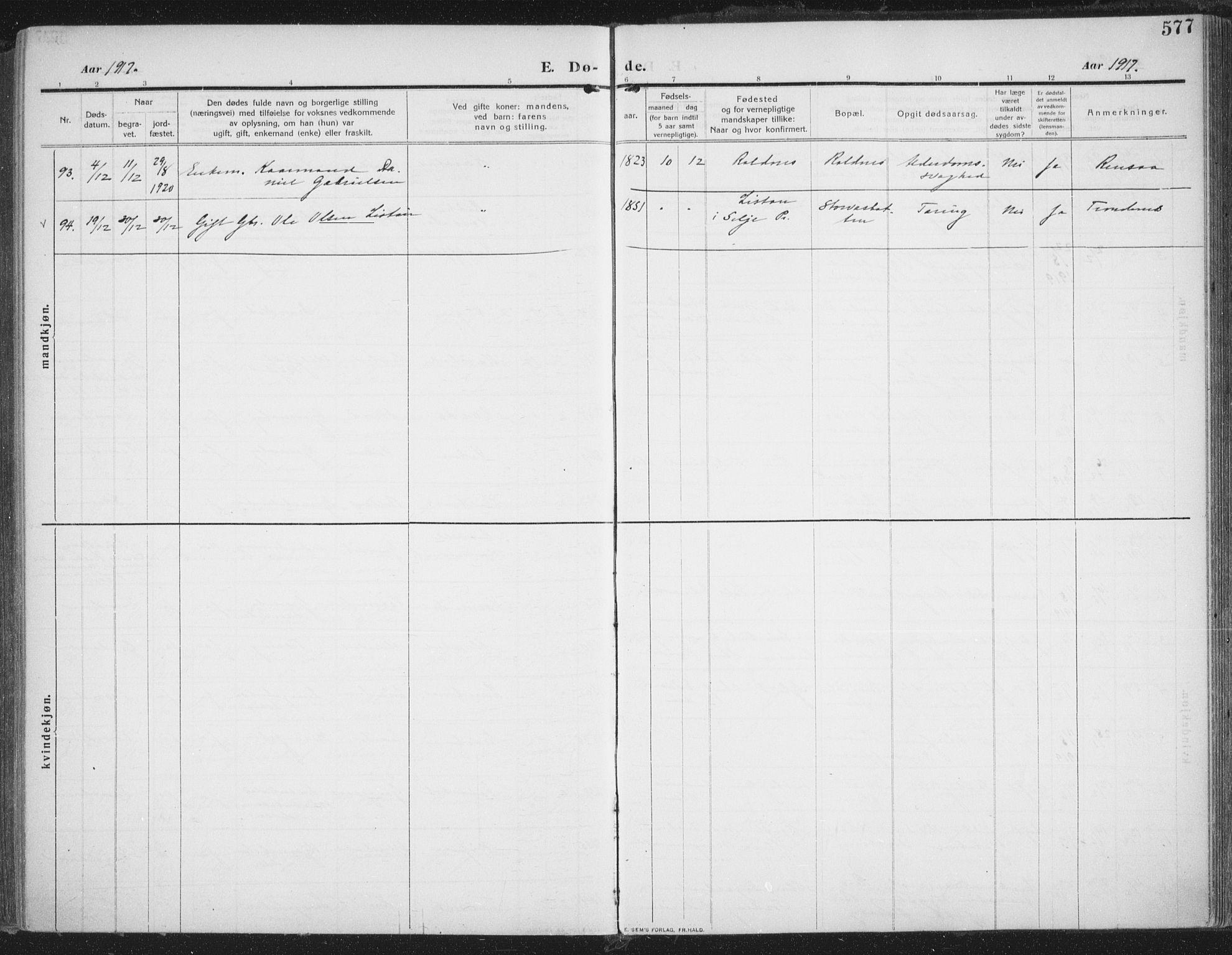 SATØ, Trondenes sokneprestkontor, H/Ha/L0018kirke: Ministerialbok nr. 18, 1909-1918, s. 577