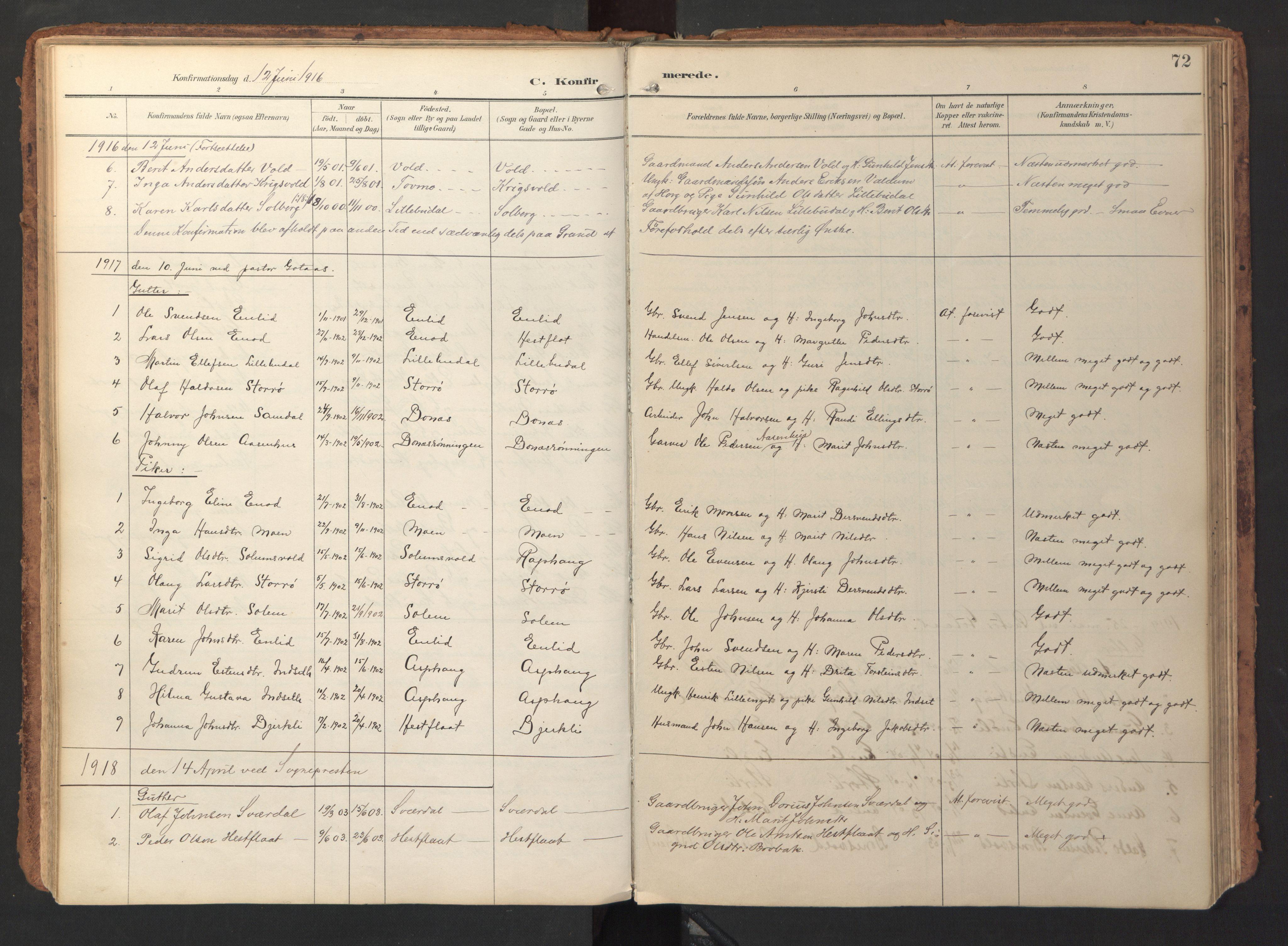 SAT, Ministerialprotokoller, klokkerbøker og fødselsregistre - Sør-Trøndelag, 690/L1050: Ministerialbok nr. 690A01, 1889-1929, s. 72
