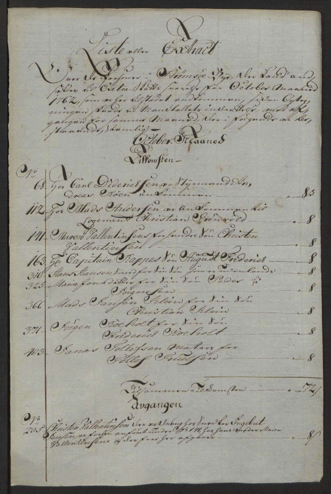 RA, Rentekammeret inntil 1814, Reviderte regnskaper, Byregnskaper, R/Rg/L0144: [G4] Kontribusjonsregnskap, 1762-1767, s. 47