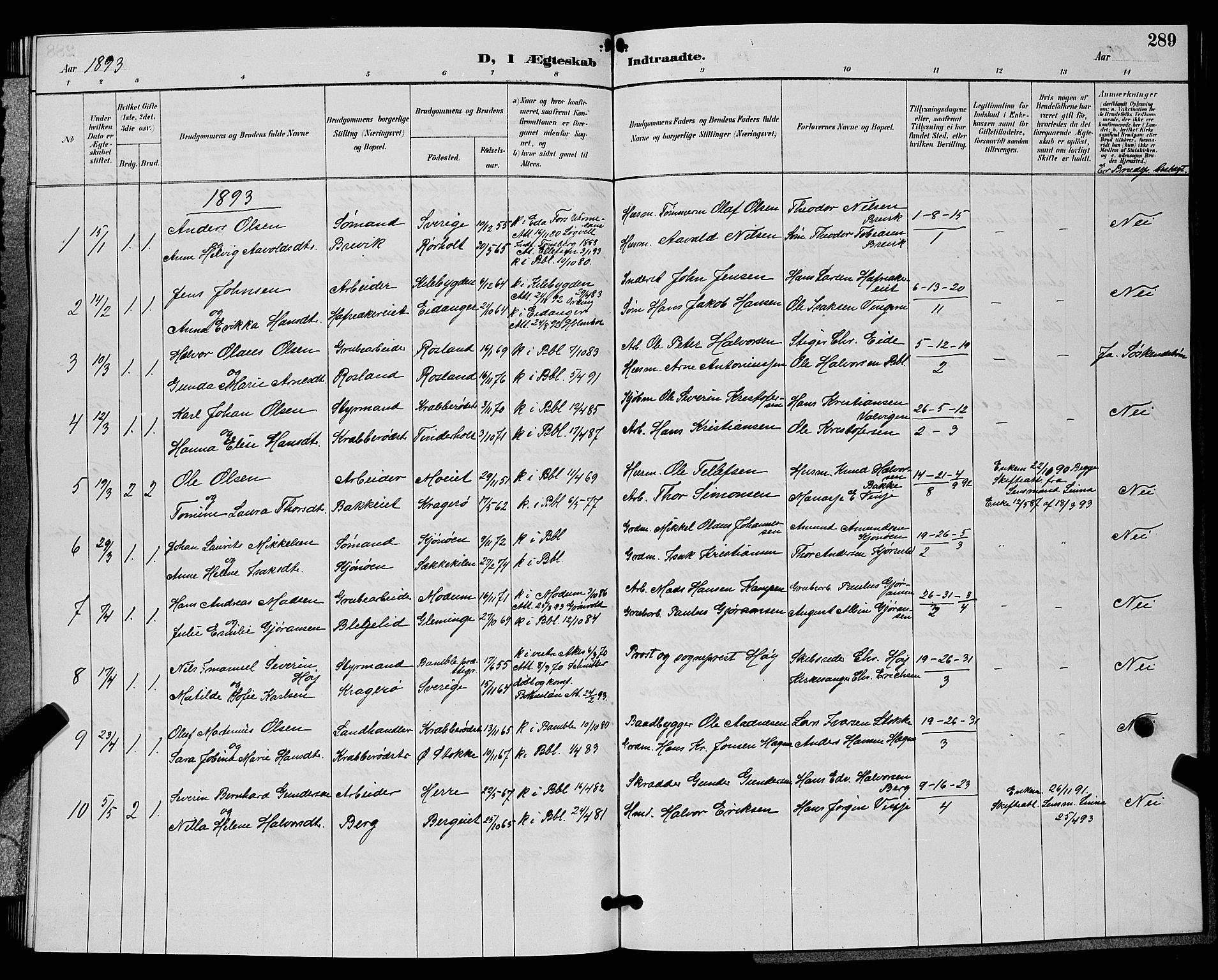 SAKO, Bamble kirkebøker, G/Ga/L0009: Klokkerbok nr. I 9, 1888-1900, s. 289