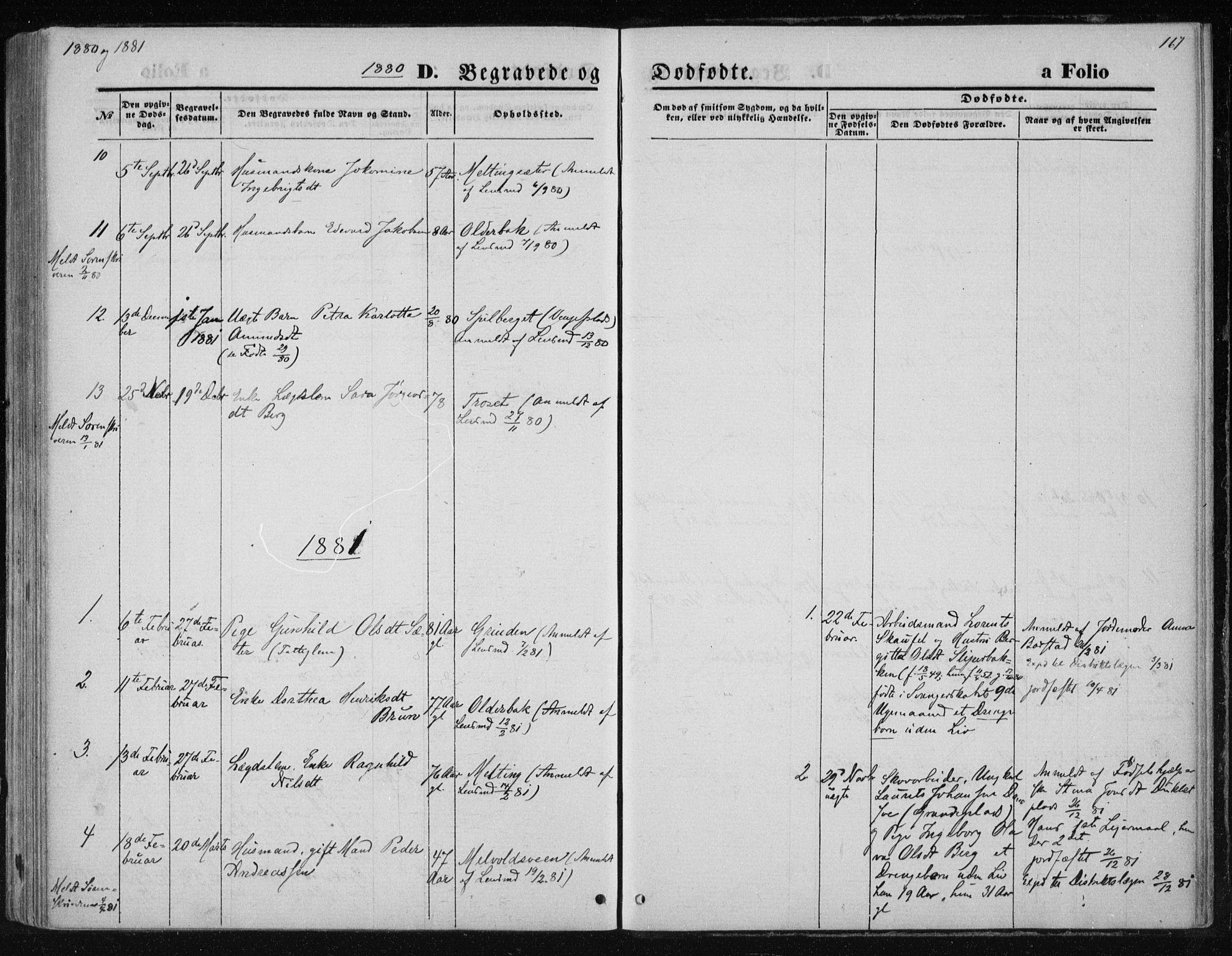 SAT, Ministerialprotokoller, klokkerbøker og fødselsregistre - Nord-Trøndelag, 733/L0324: Ministerialbok nr. 733A03, 1870-1883, s. 167