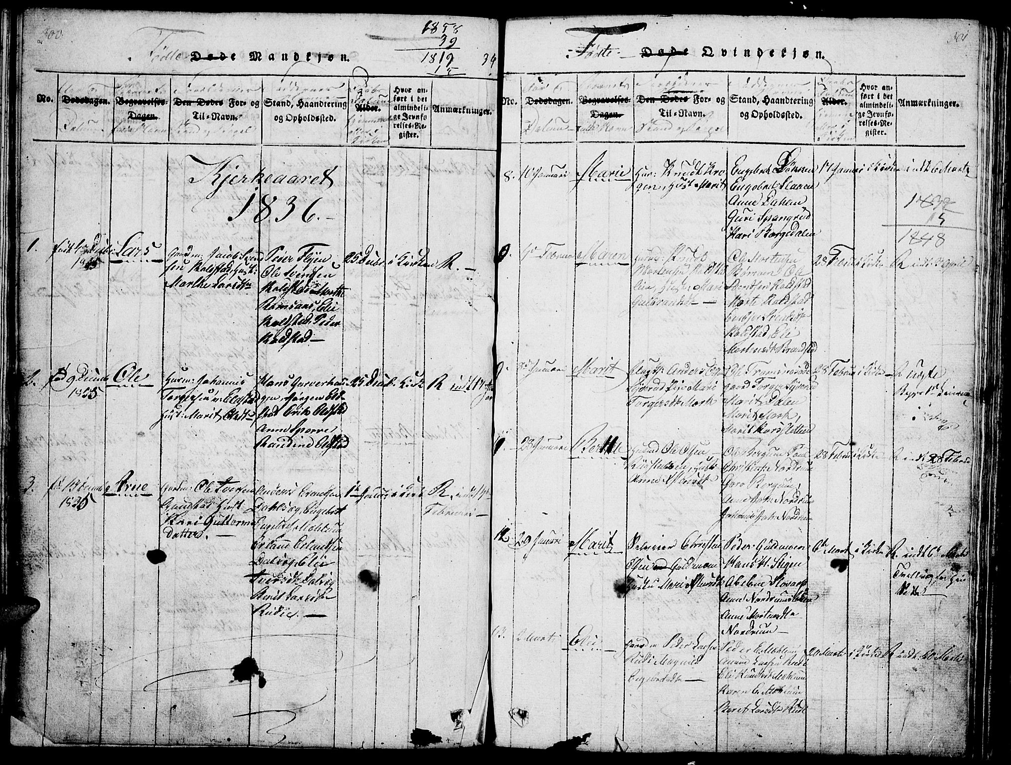 SAH, Ringebu prestekontor, Klokkerbok nr. 1, 1821-1839, s. 300-301