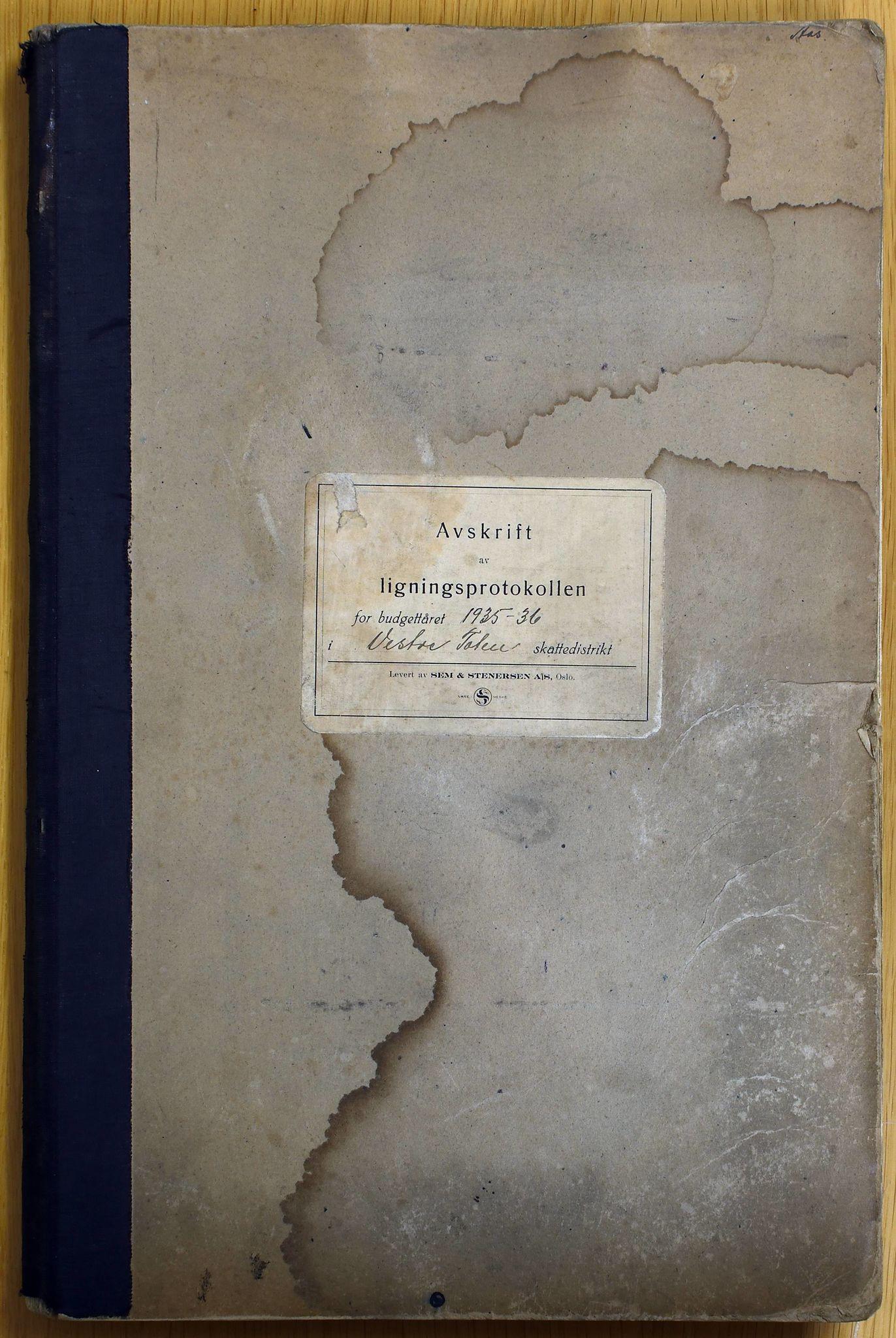 KVT, Vestre Toten kommunearkiv: Vestre Toten kommune, Avskrift av ligningsprotokollen for budsjettåret 1935-1936 i Vestre Toten skattedistrikt, 1935-1936