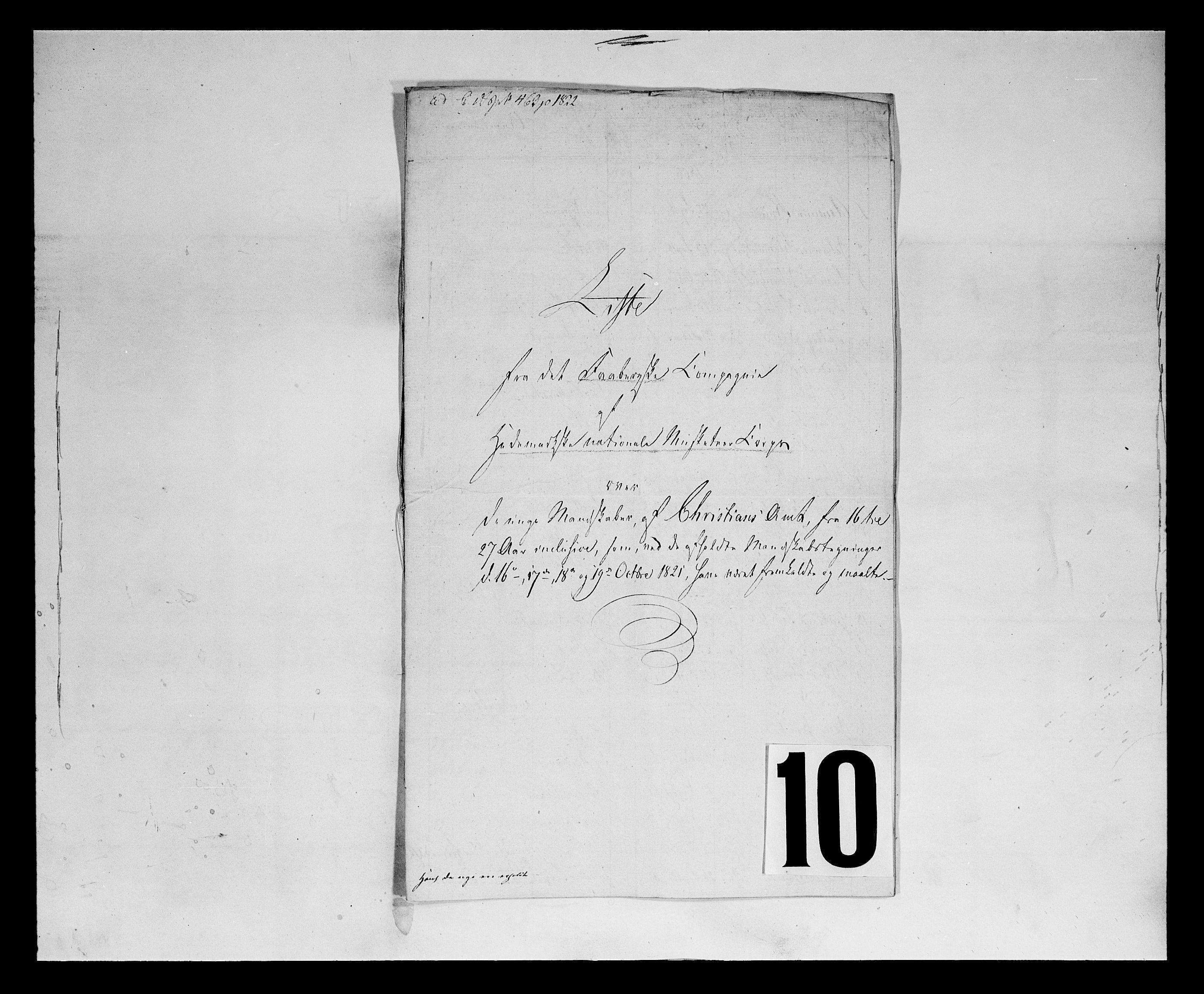 SAH, Fylkesmannen i Oppland, K/Ka/L1156: Hedemarken nasjonale musketérkorps, 1818-1860, s. 2