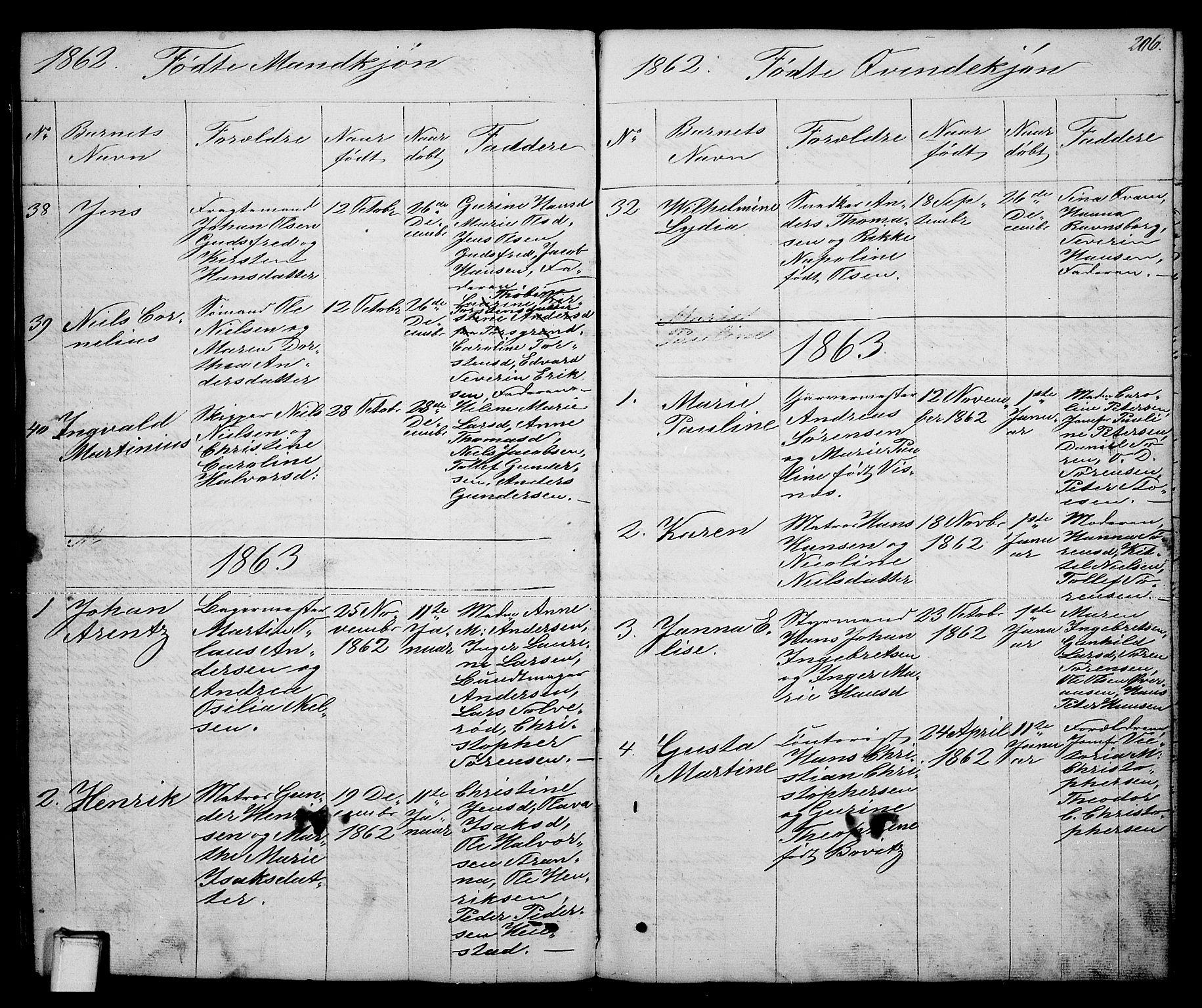 SAKO, Brevik kirkebøker, G/Ga/L0002: Klokkerbok nr. 2, 1846-1865, s. 206