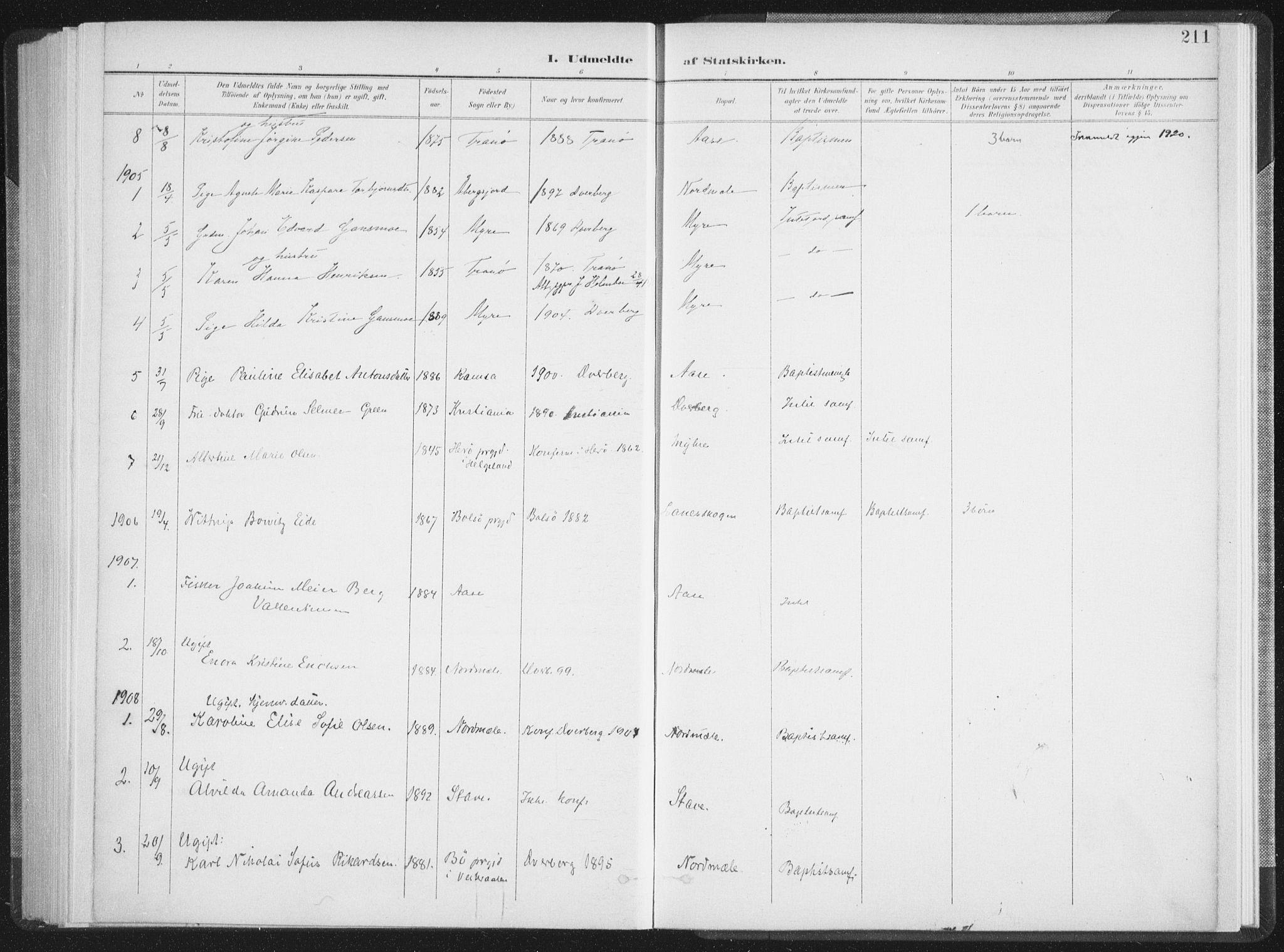 SAT, Ministerialprotokoller, klokkerbøker og fødselsregistre - Nordland, 897/L1400: Ministerialbok nr. 897A07, 1897-1908, s. 211