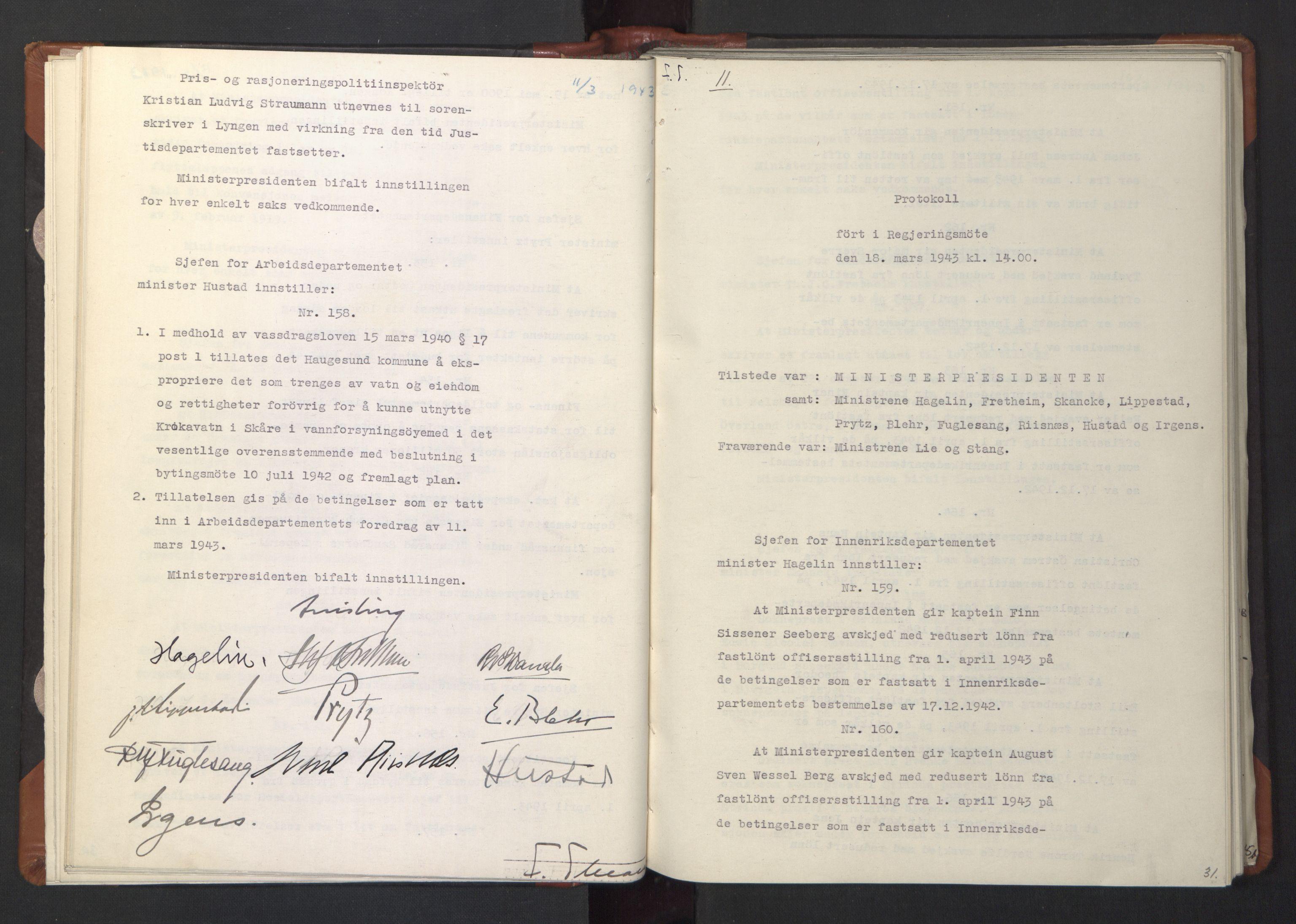 RA, NS-administrasjonen 1940-1945 (Statsrådsekretariatet, de kommisariske statsråder mm), D/Da/L0003: Vedtak (Beslutninger) nr. 1-746 og tillegg nr. 1-47 (RA. j.nr. 1394/1944, tilgangsnr. 8/1944, 1943, s. 30b-31a