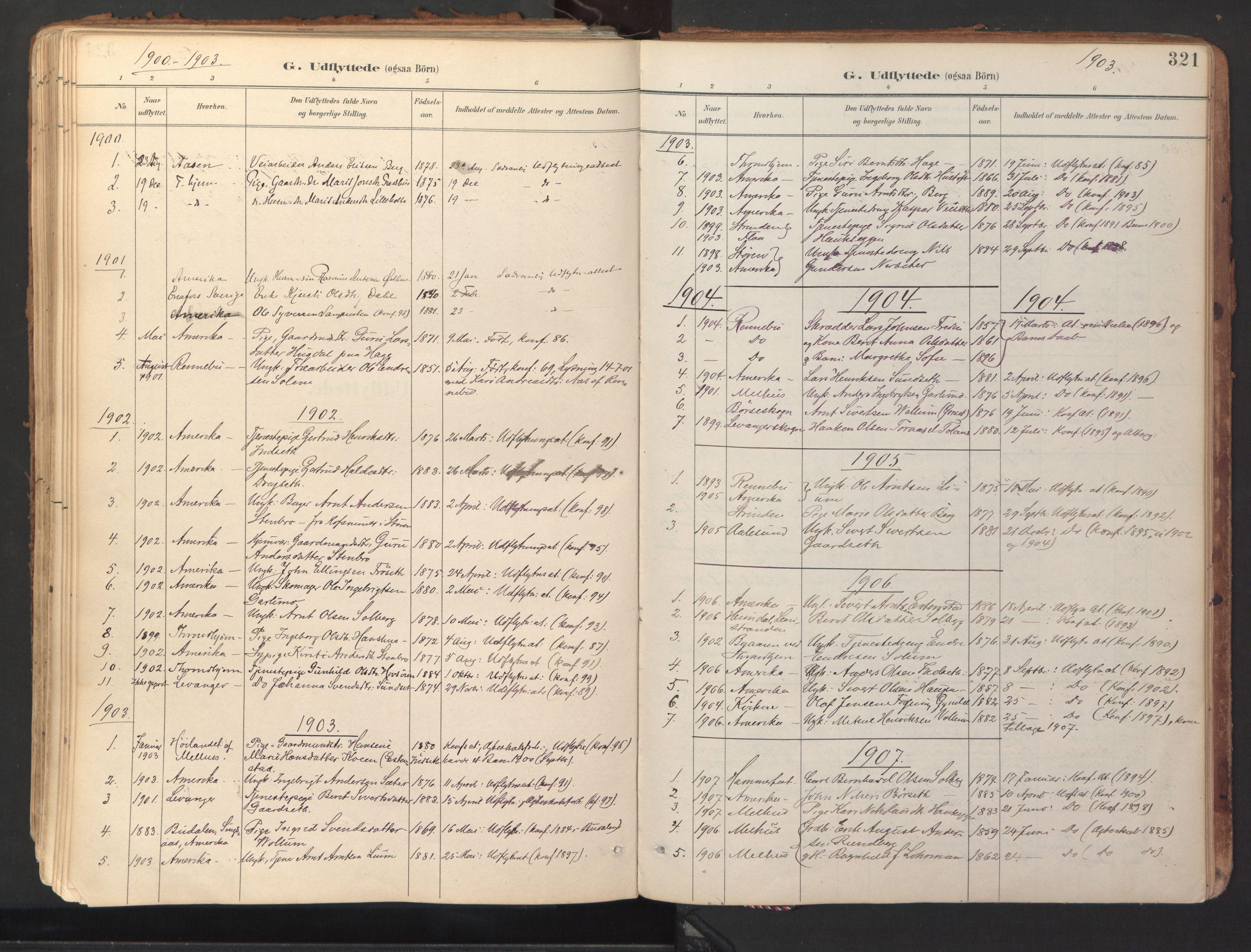 SAT, Ministerialprotokoller, klokkerbøker og fødselsregistre - Sør-Trøndelag, 689/L1041: Ministerialbok nr. 689A06, 1891-1923, s. 321