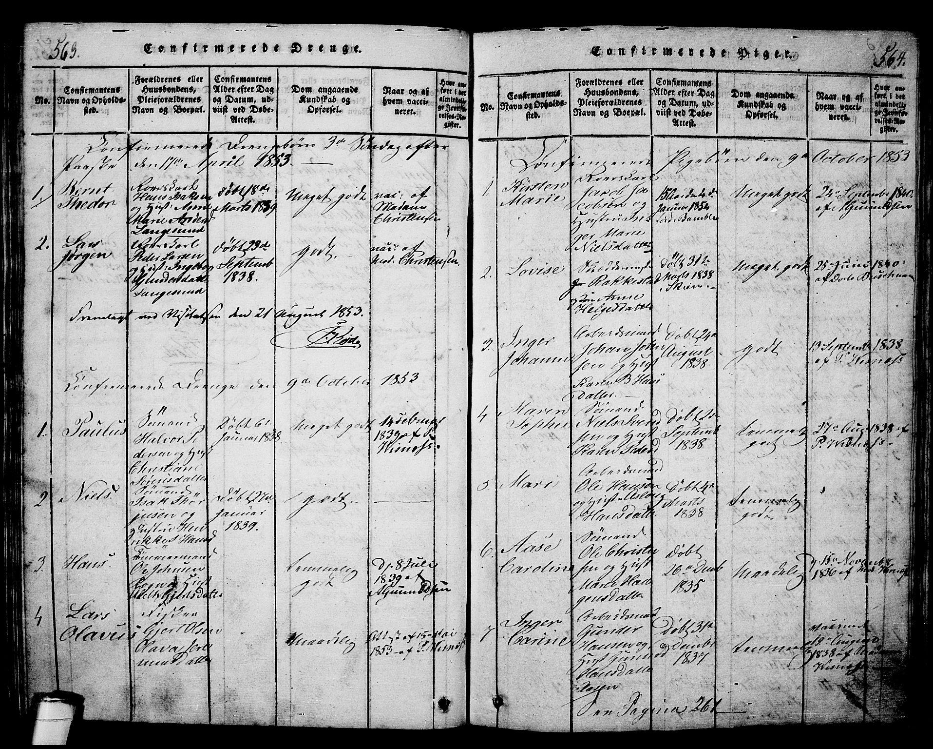 SAKO, Langesund kirkebøker, G/Ga/L0003: Klokkerbok nr. 3, 1815-1858, s. 563-564