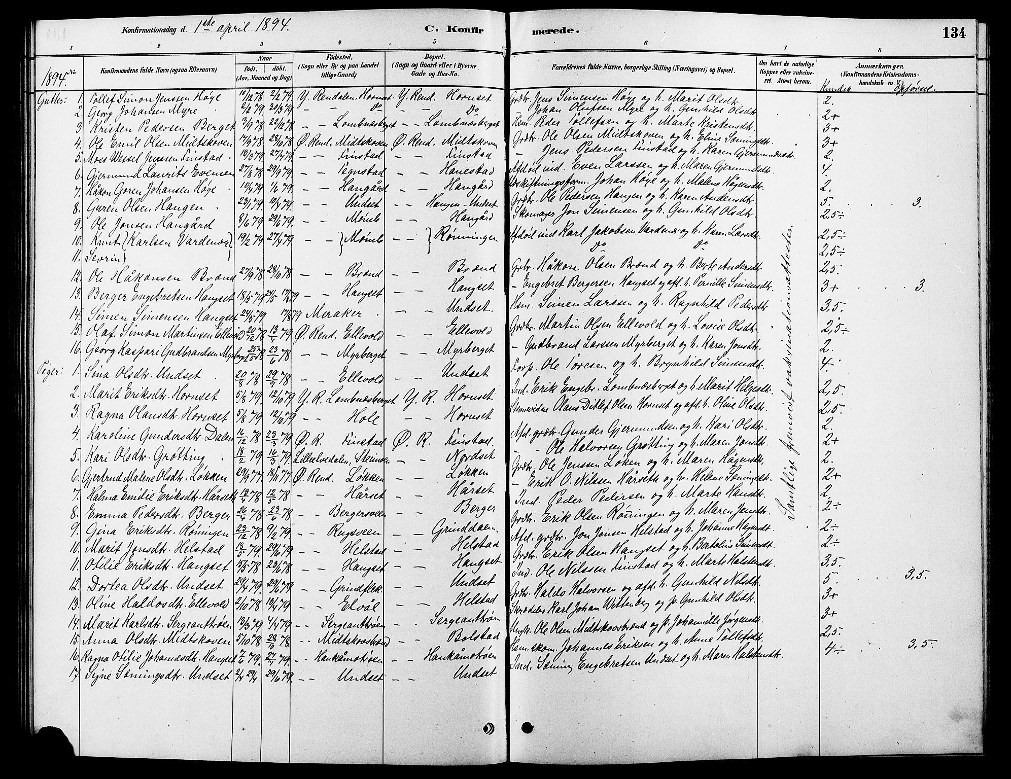SAH, Rendalen prestekontor, H/Ha/Hab/L0003: Klokkerbok nr. 3, 1879-1904, s. 134