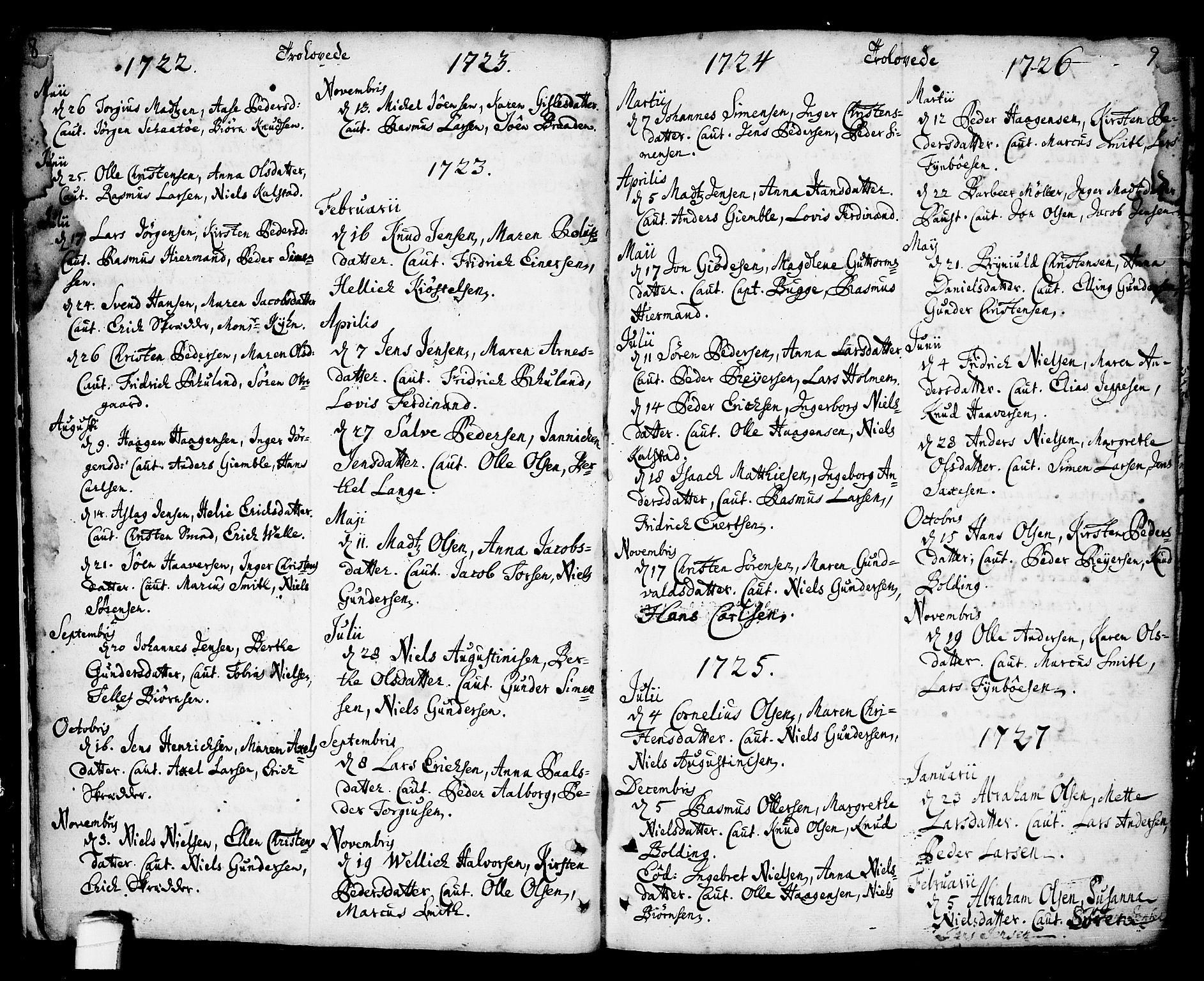 SAKO, Kragerø kirkebøker, F/Fa/L0001: Ministerialbok nr. 1, 1702-1766, s. 8-9