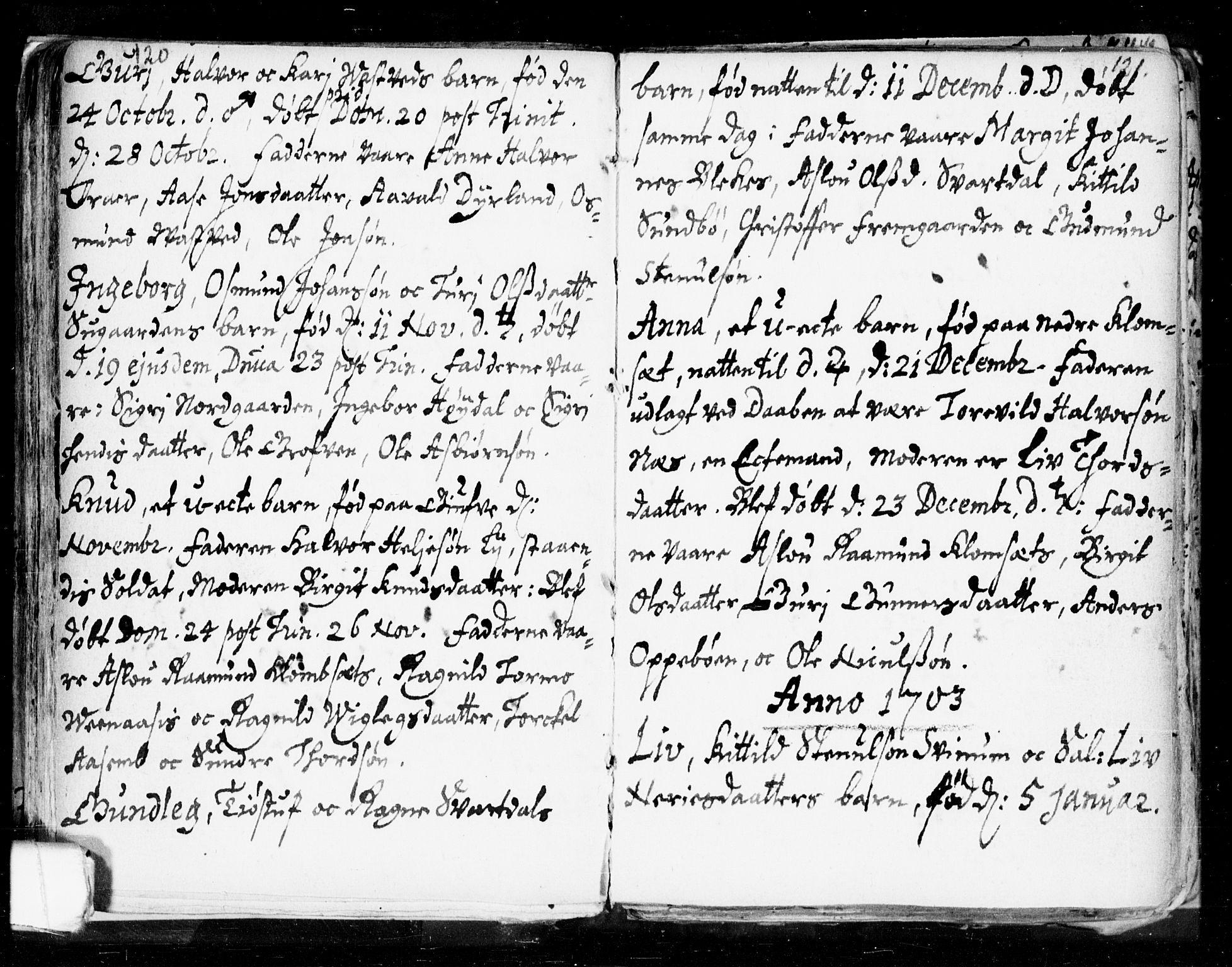 SAKO, Seljord kirkebøker, F/Fa/L0002: Ministerialbok nr. I 2, 1689-1713, s. 120-121