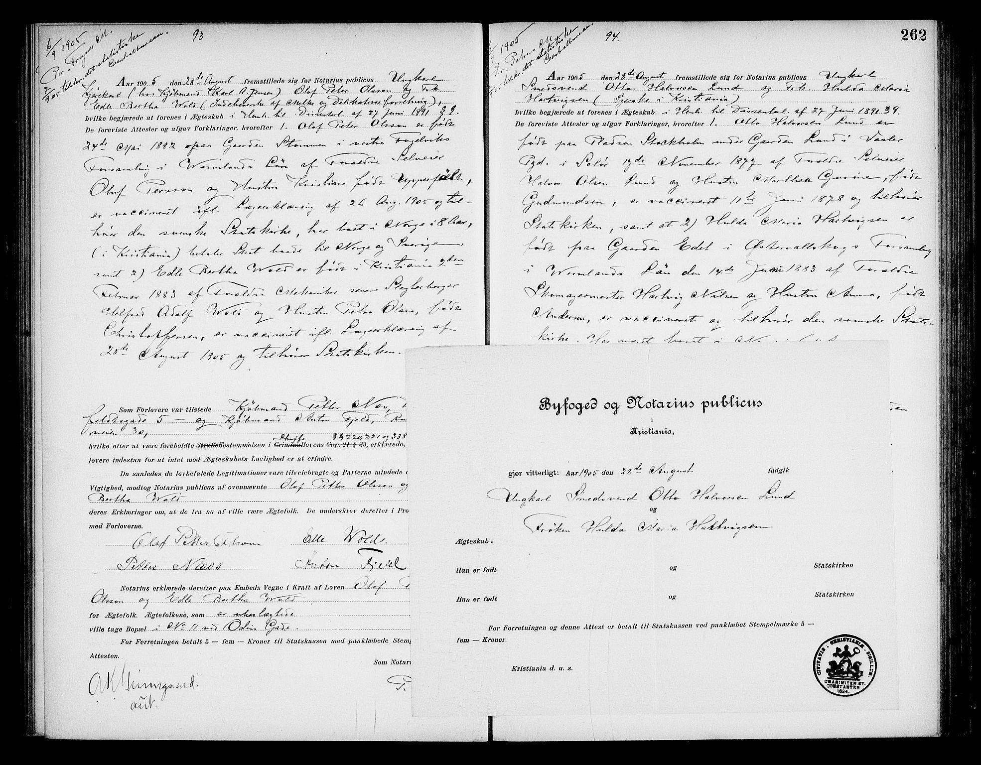 SAO, Oslo byfogd avd. I, L/Lb/Lbb/L0006: Notarialprotokoll, rekke II: Vigsler, 1902-1907, s. 261b-262a