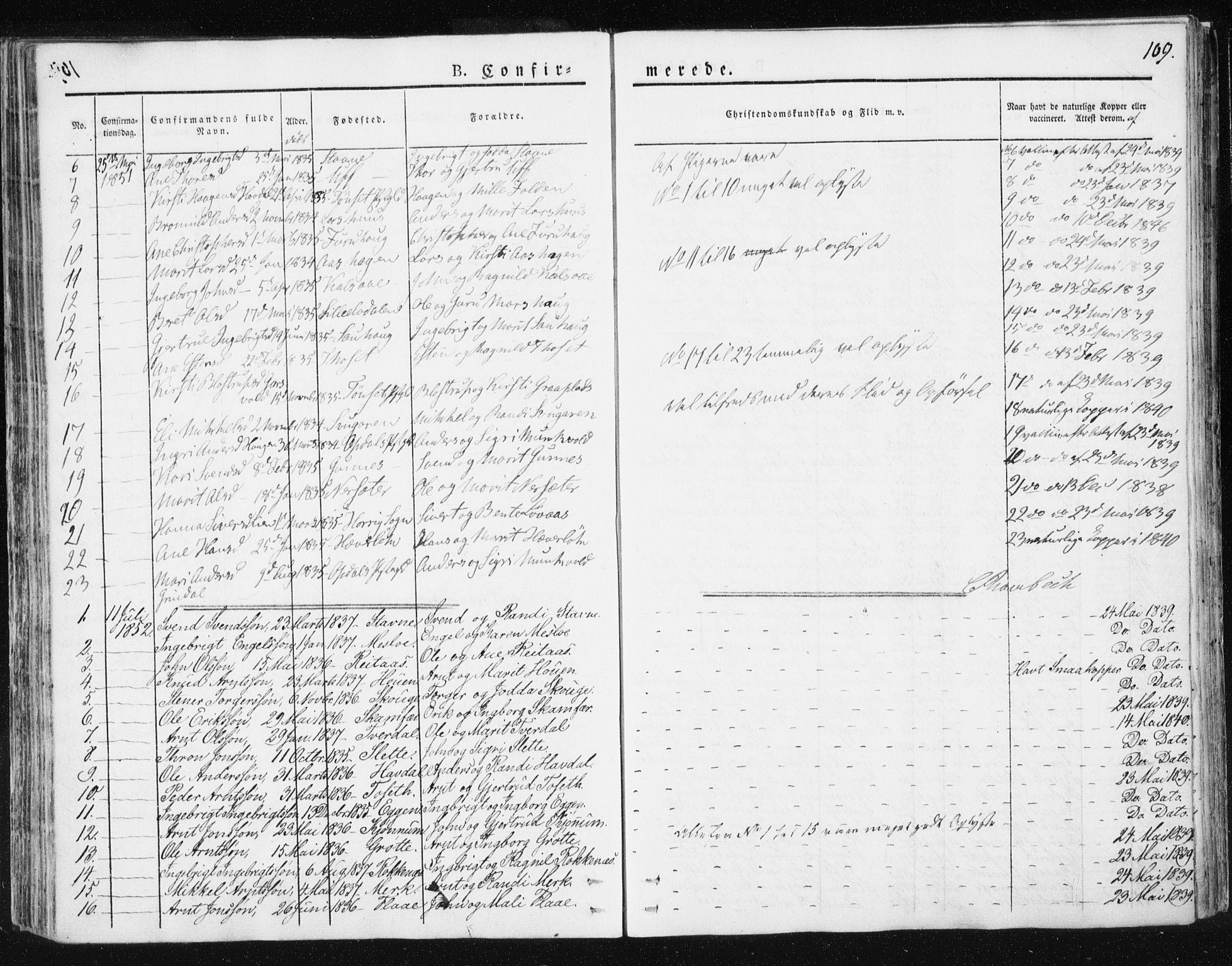 SAT, Ministerialprotokoller, klokkerbøker og fødselsregistre - Sør-Trøndelag, 674/L0869: Ministerialbok nr. 674A01, 1829-1860, s. 109