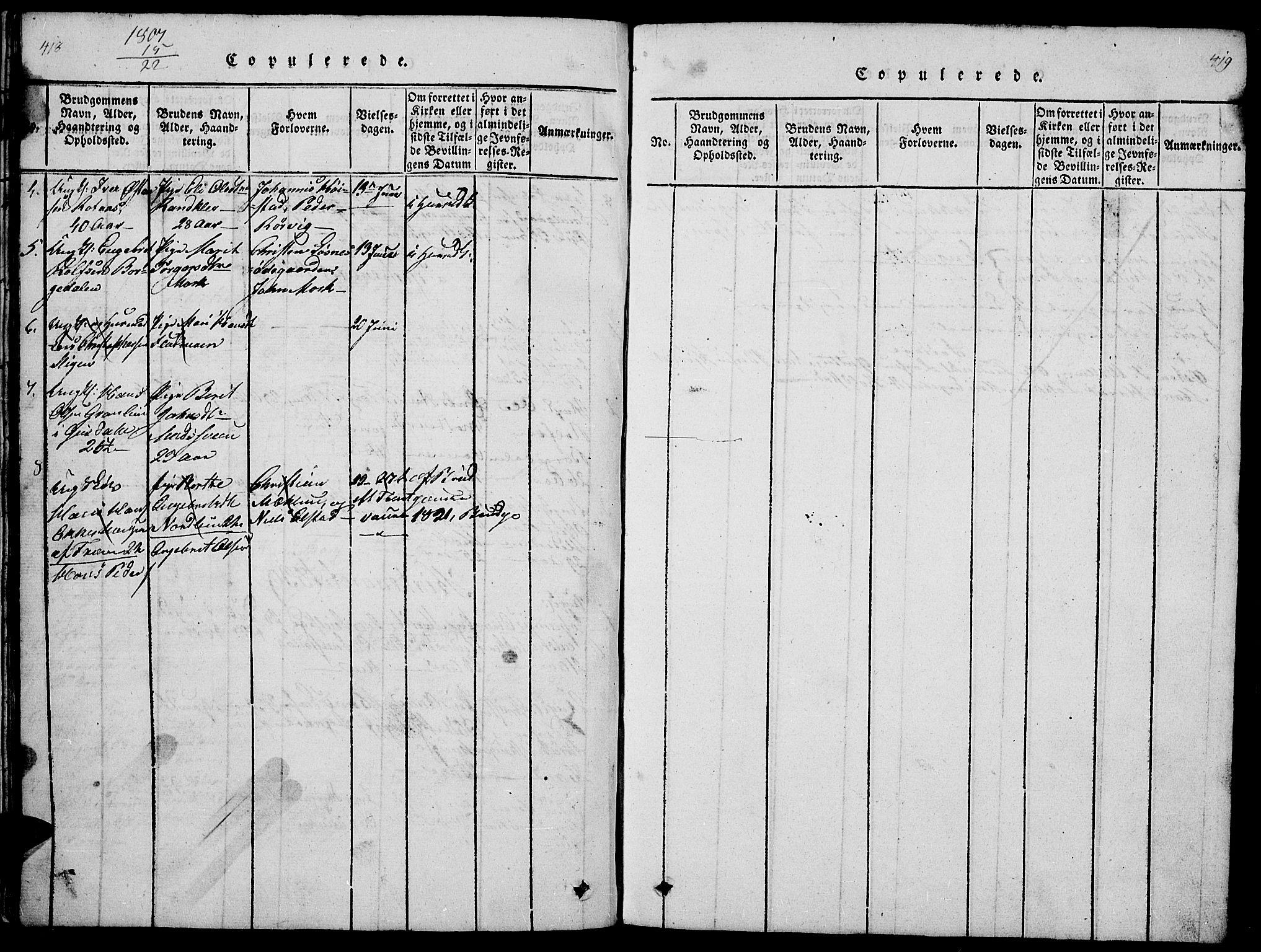 SAH, Ringebu prestekontor, Klokkerbok nr. 1, 1821-1839, s. 418-419