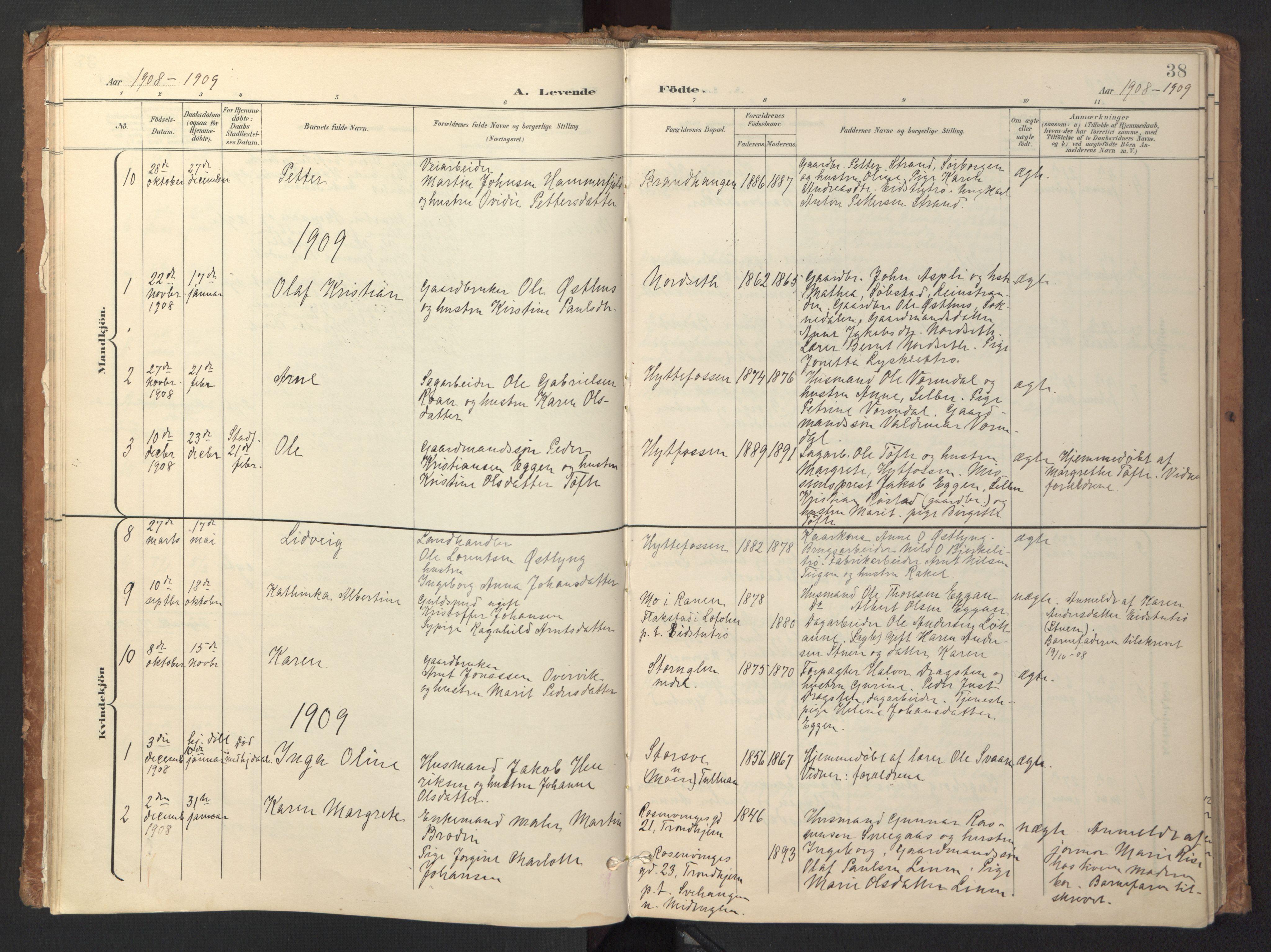 SAT, Ministerialprotokoller, klokkerbøker og fødselsregistre - Sør-Trøndelag, 618/L0448: Ministerialbok nr. 618A11, 1898-1916, s. 38