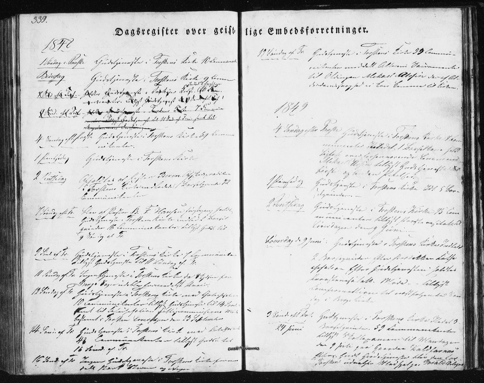 SATØ, Mefjord/Berg sokneprestkontor, G/Ga/Gab/L0011klokker: Klokkerbok nr. 11, 1833-1878, s. 339