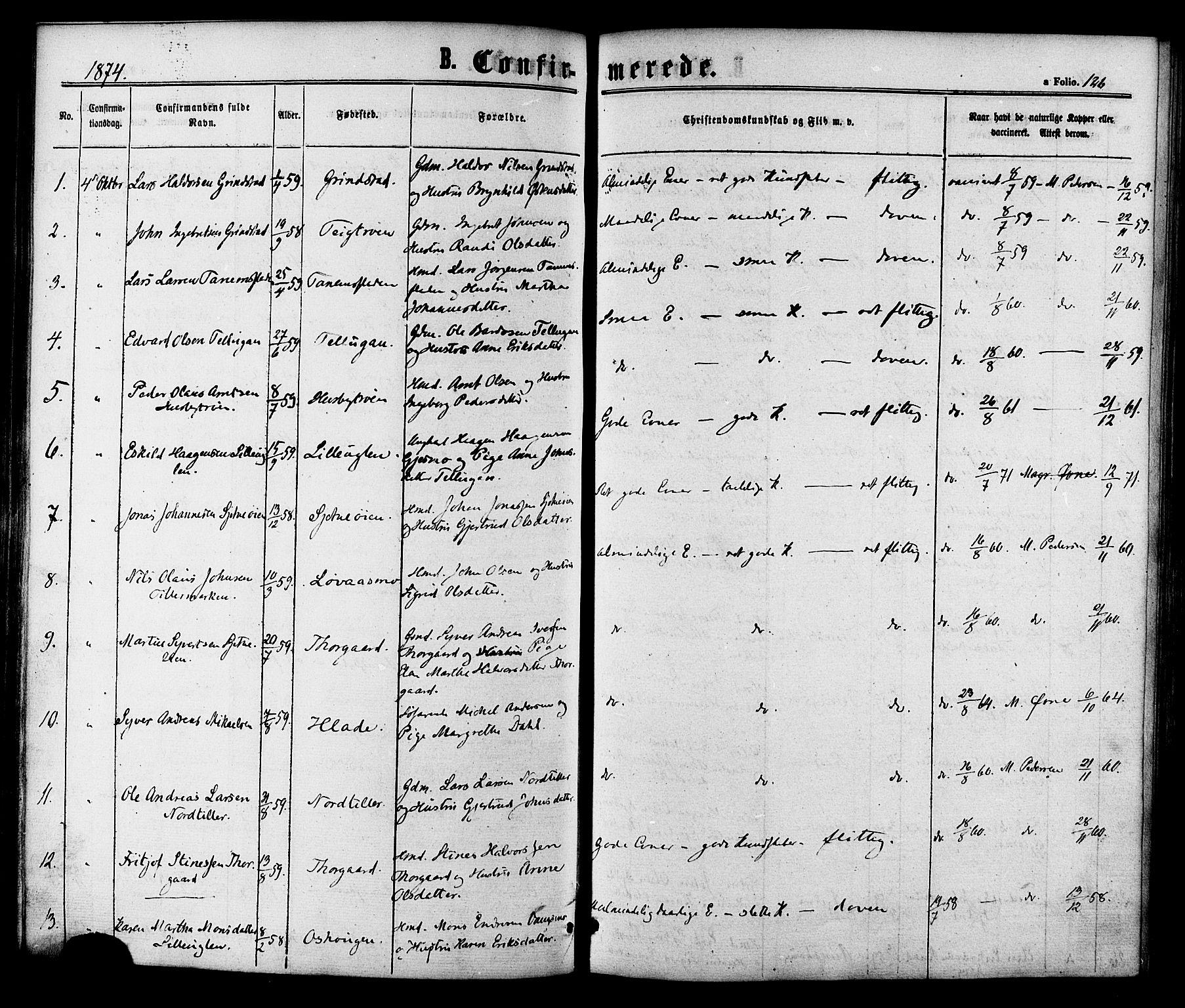 SAT, Ministerialprotokoller, klokkerbøker og fødselsregistre - Sør-Trøndelag, 618/L0442: Ministerialbok nr. 618A06 /1, 1863-1879, s. 126