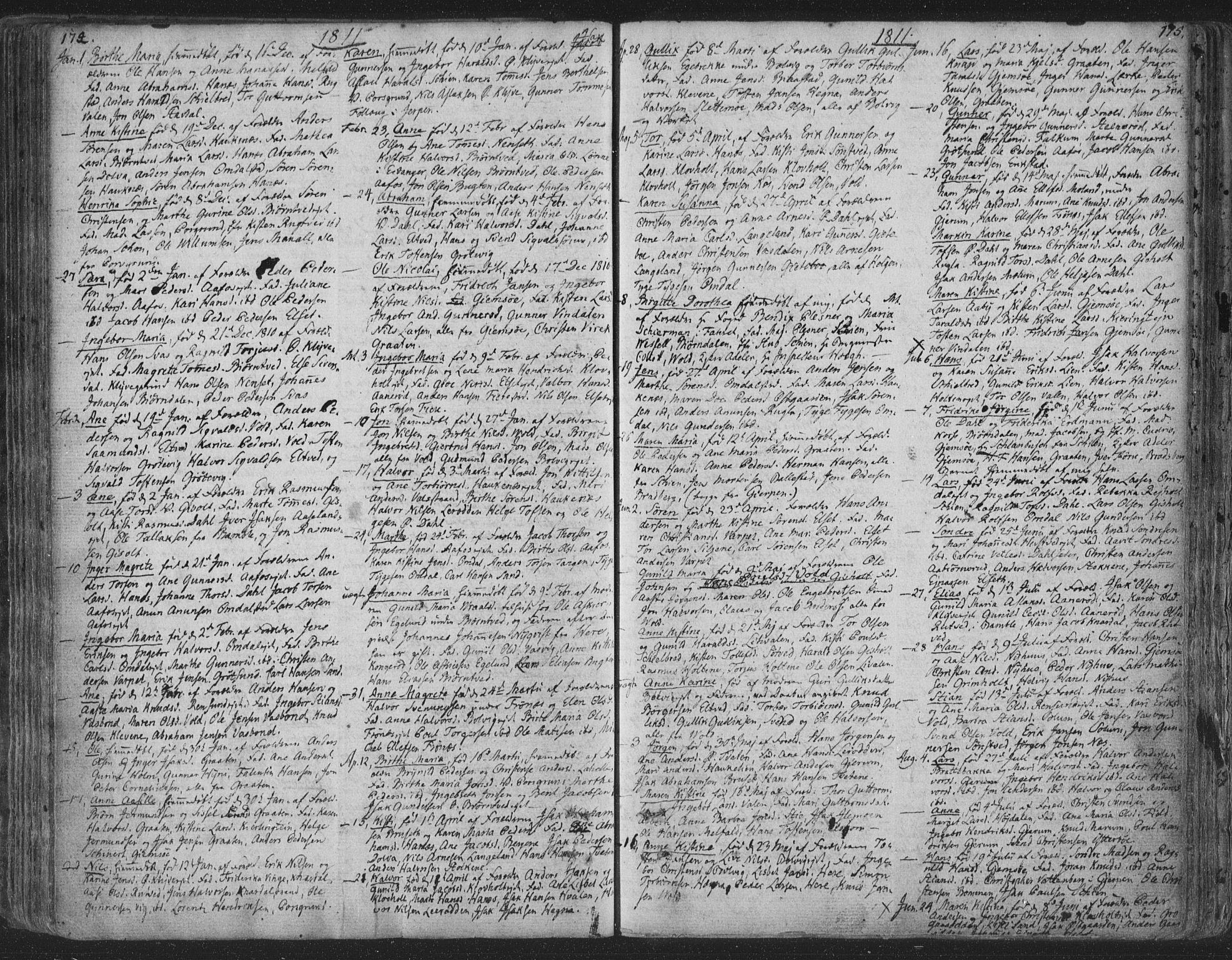 SAKO, Solum kirkebøker, F/Fa/L0003: Ministerialbok nr. I 3, 1761-1814, s. 174-175