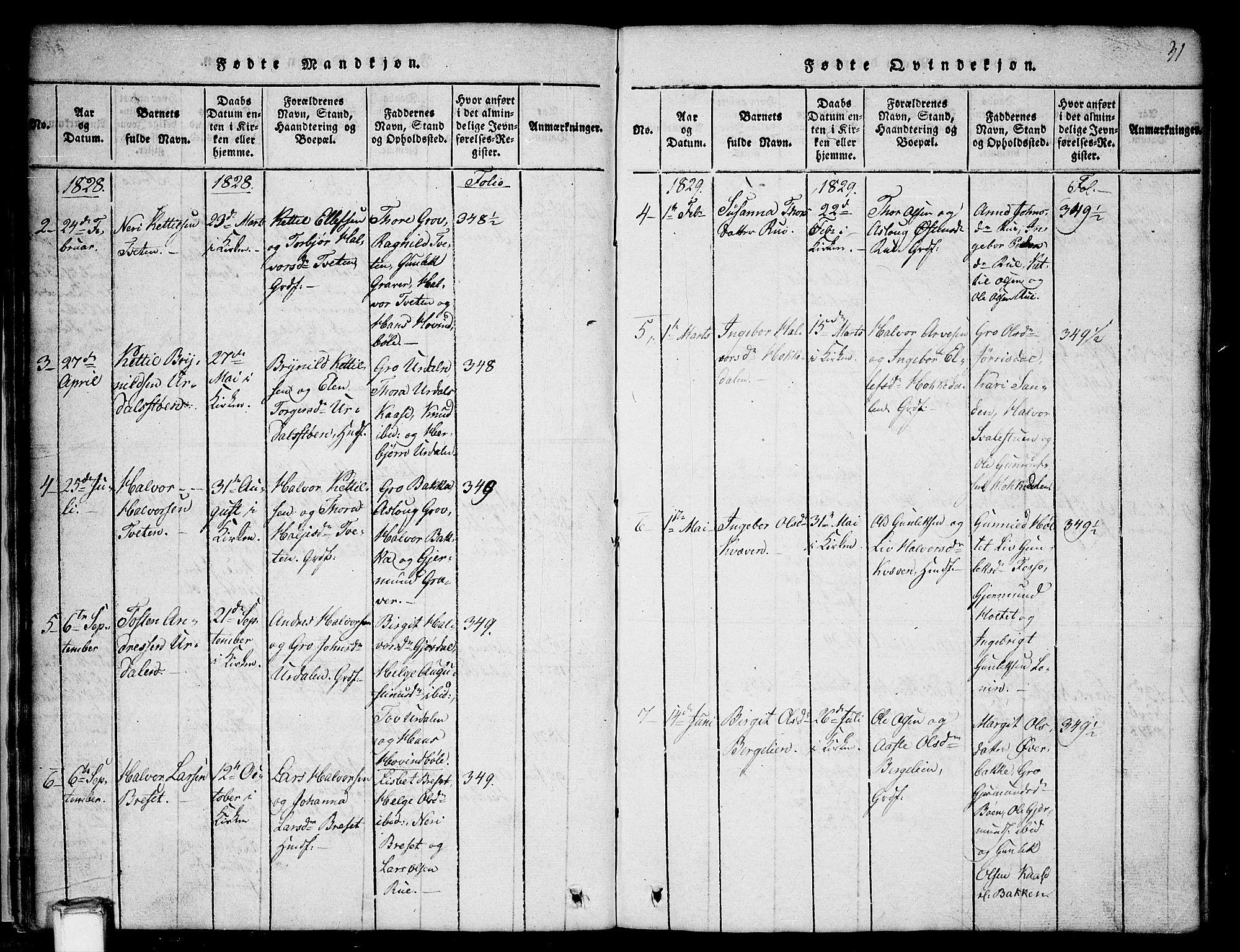 SAKO, Gransherad kirkebøker, G/Gb/L0001: Klokkerbok nr. II 1, 1815-1860, s. 31