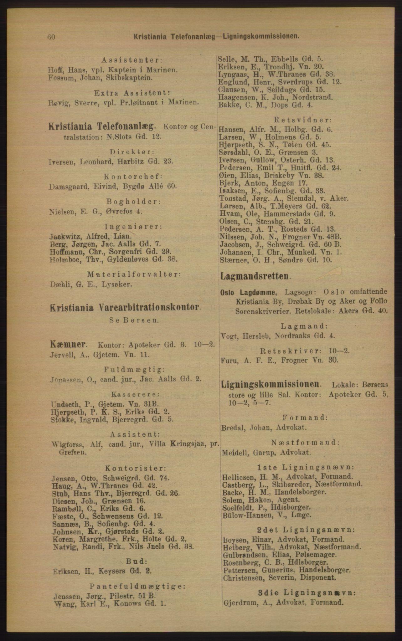 RA, Kristiania adressebok (publikasjon)*, 1906, s. 60