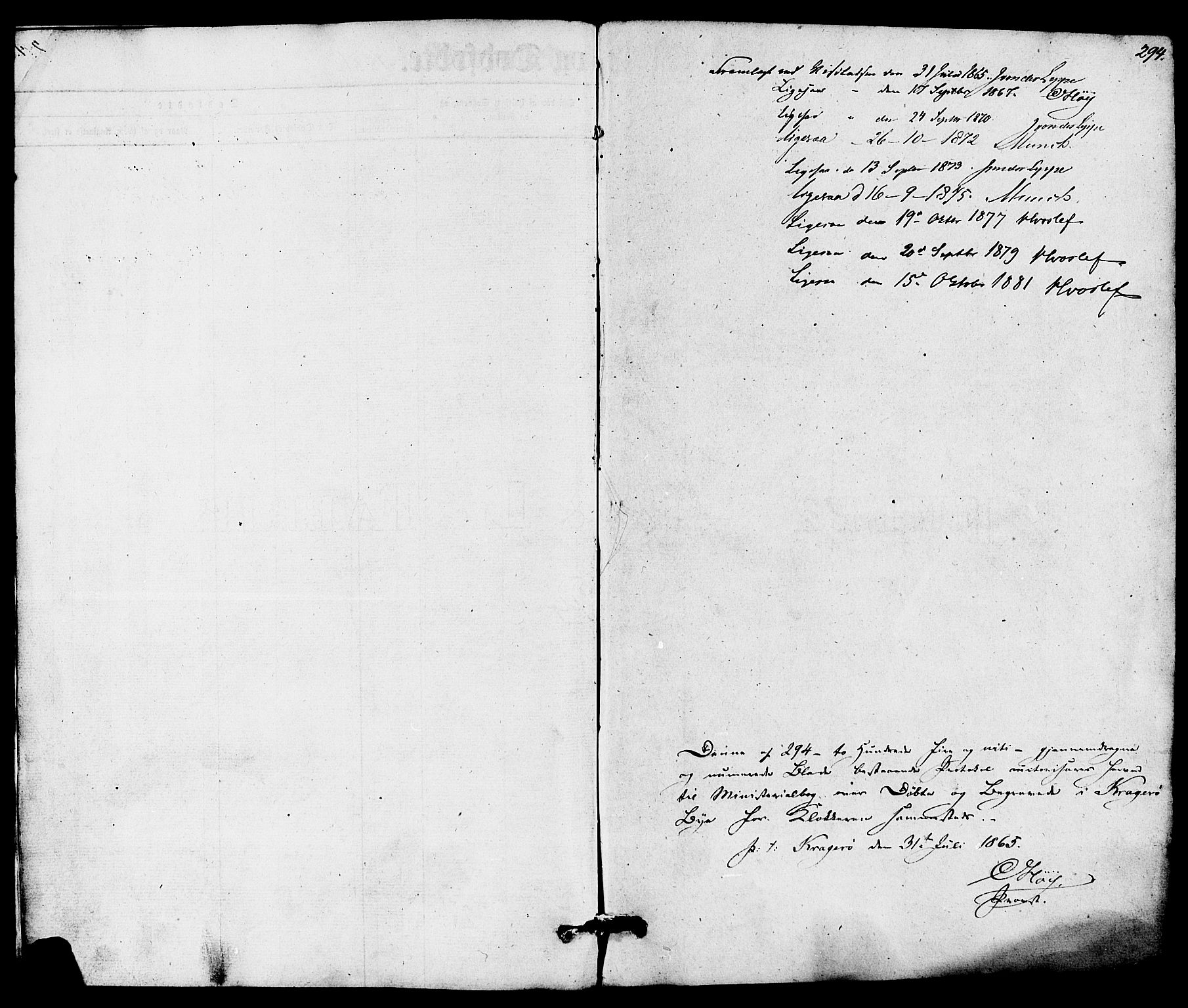 SAKO, Kragerø kirkebøker, G/Ga/L0005: Klokkerbok nr. 5, 1865-1881, s. 294