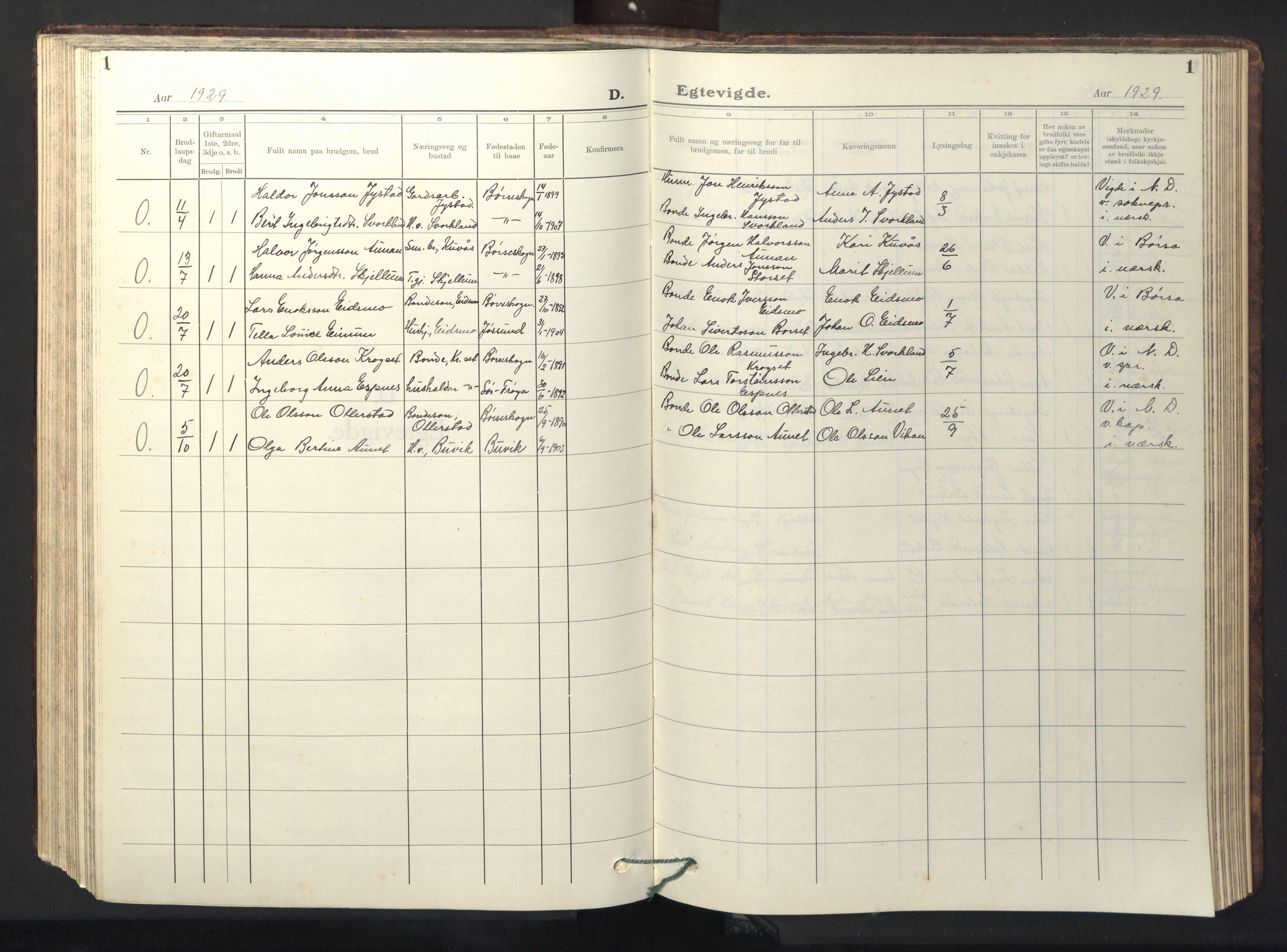 SAT, Ministerialprotokoller, klokkerbøker og fødselsregistre - Sør-Trøndelag, 667/L0799: Klokkerbok nr. 667C04, 1929-1950, s. 1