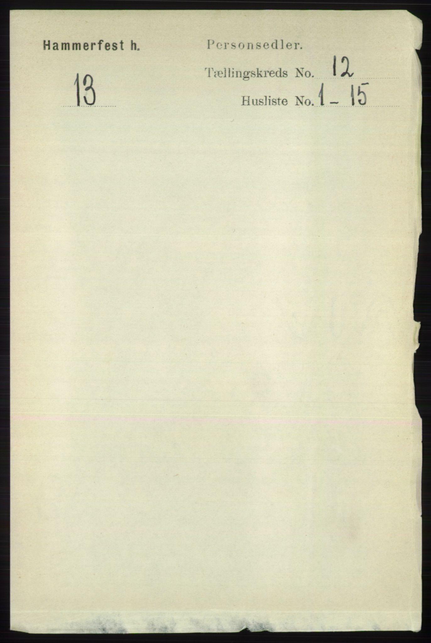 RA, Folketelling 1891 for 2016 Hammerfest herred, 1891, s. 1103