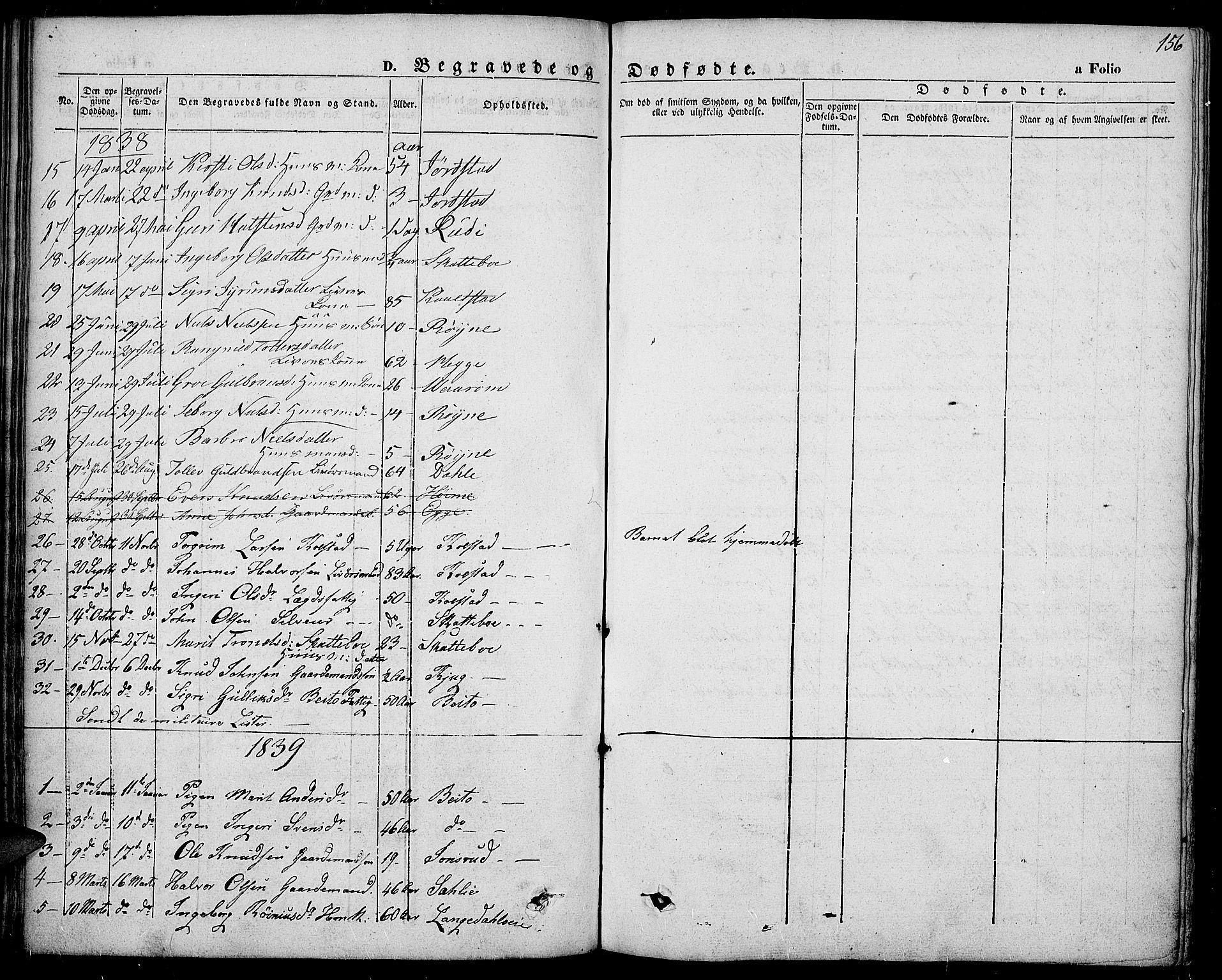 SAH, Slidre prestekontor, Ministerialbok nr. 4, 1831-1848, s. 156