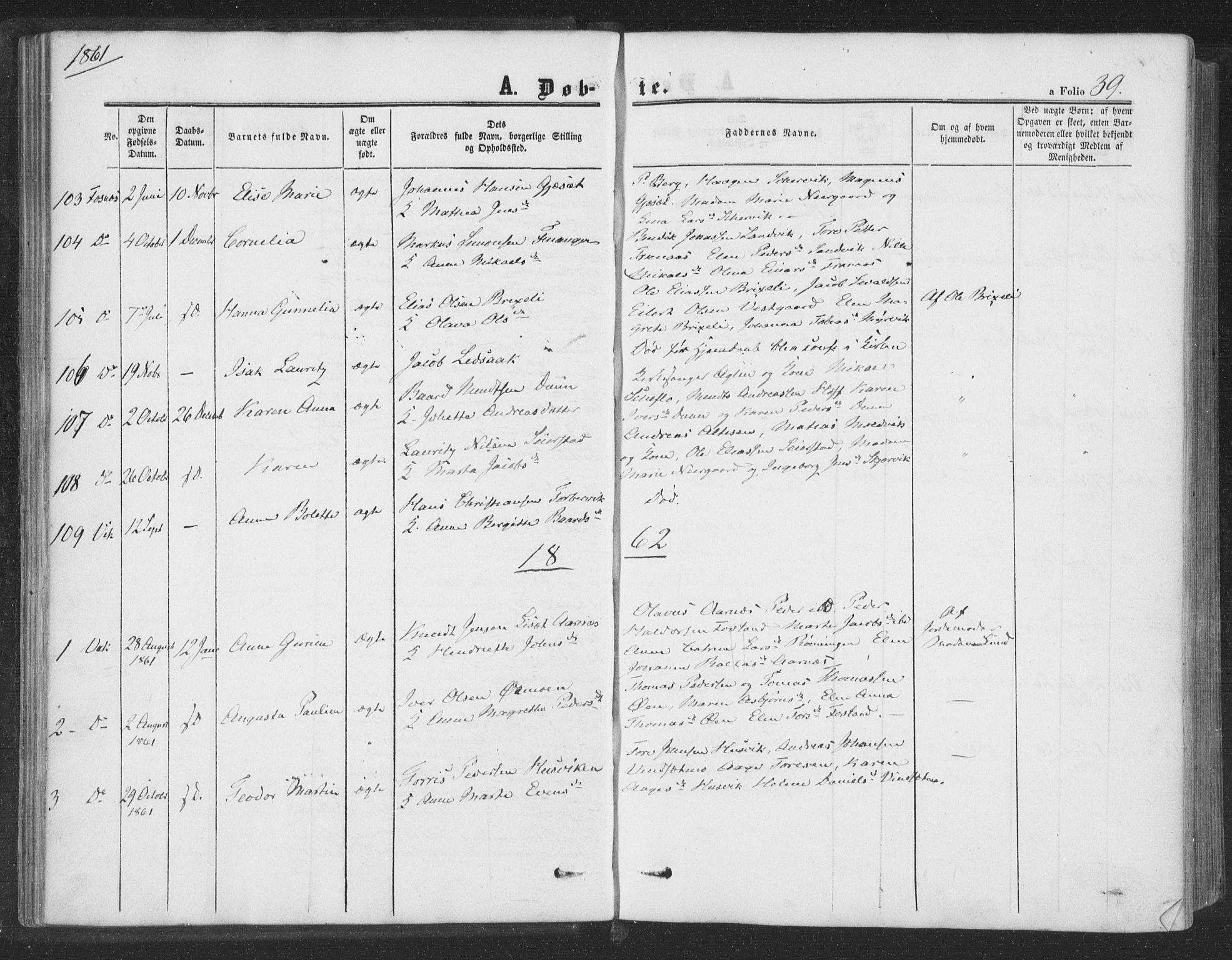 SAT, Ministerialprotokoller, klokkerbøker og fødselsregistre - Nord-Trøndelag, 773/L0615: Ministerialbok nr. 773A06, 1857-1870, s. 39