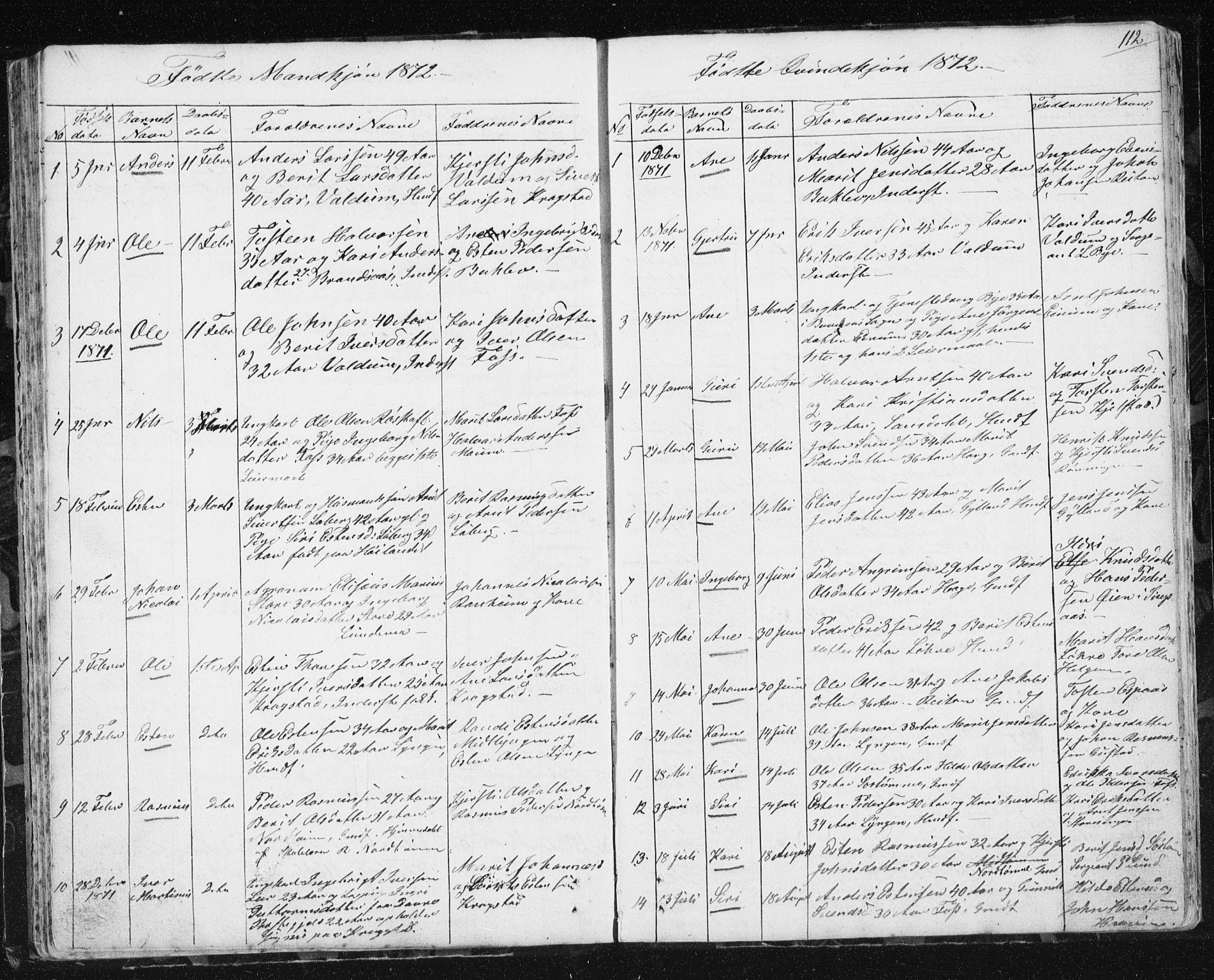 SAT, Ministerialprotokoller, klokkerbøker og fødselsregistre - Sør-Trøndelag, 692/L1110: Klokkerbok nr. 692C05, 1849-1889, s. 112