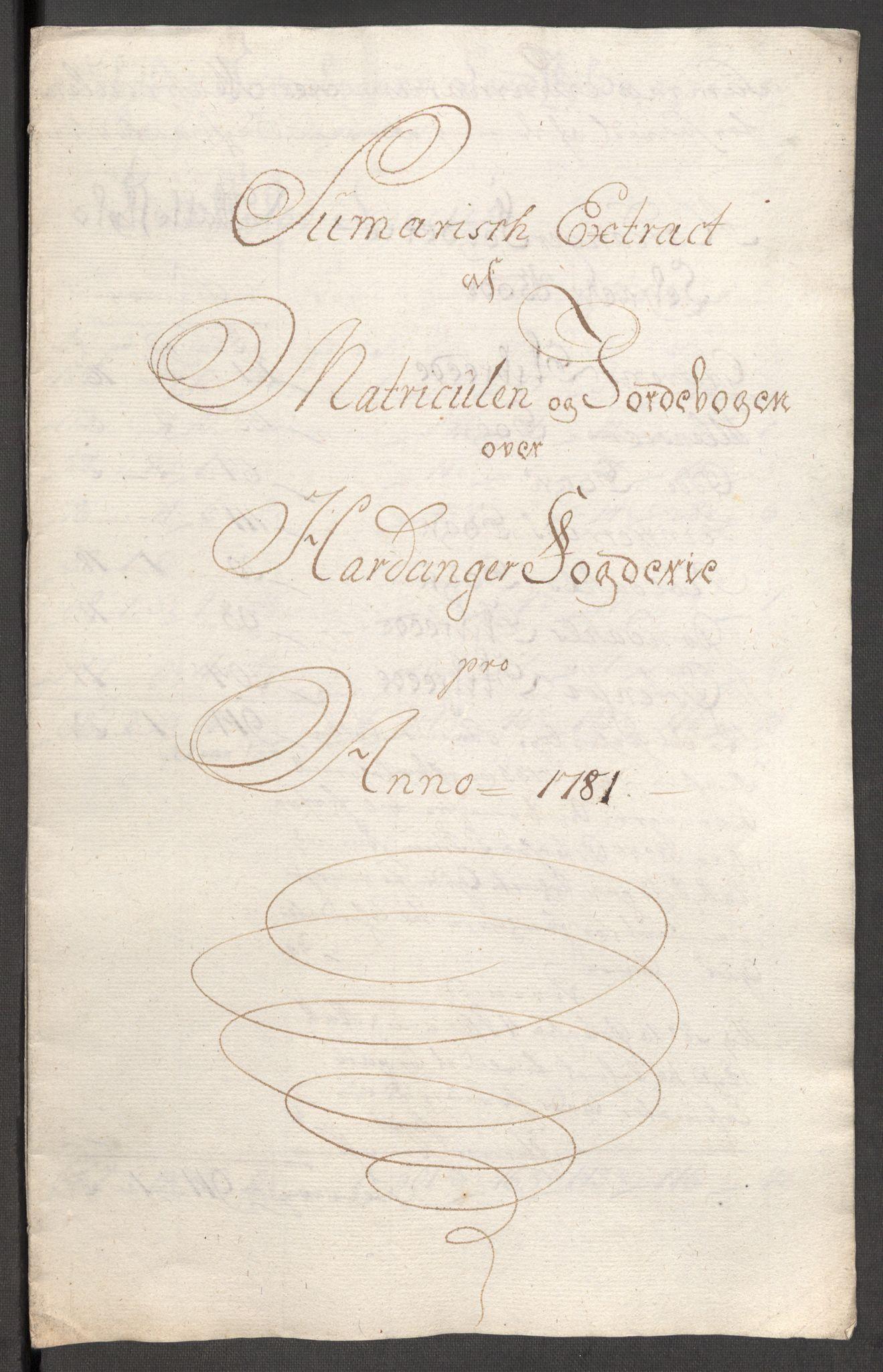RA, Rentekammeret inntil 1814, Reviderte regnskaper, Fogderegnskap, R48/L3097: Fogderegnskap Sunnhordland og Hardanger, 1781, s. 213