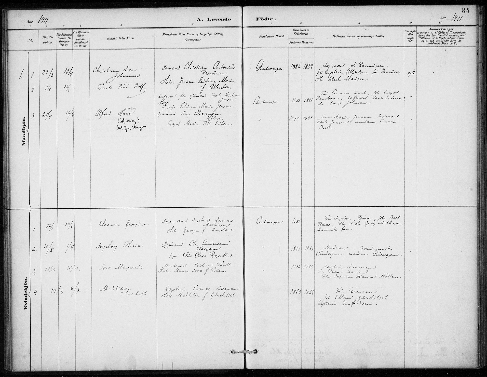 SAB, Den Norske Sjømannsmisjon i utlandet*, Ministerialbok nr. A 2, 1887-1913, s. 34