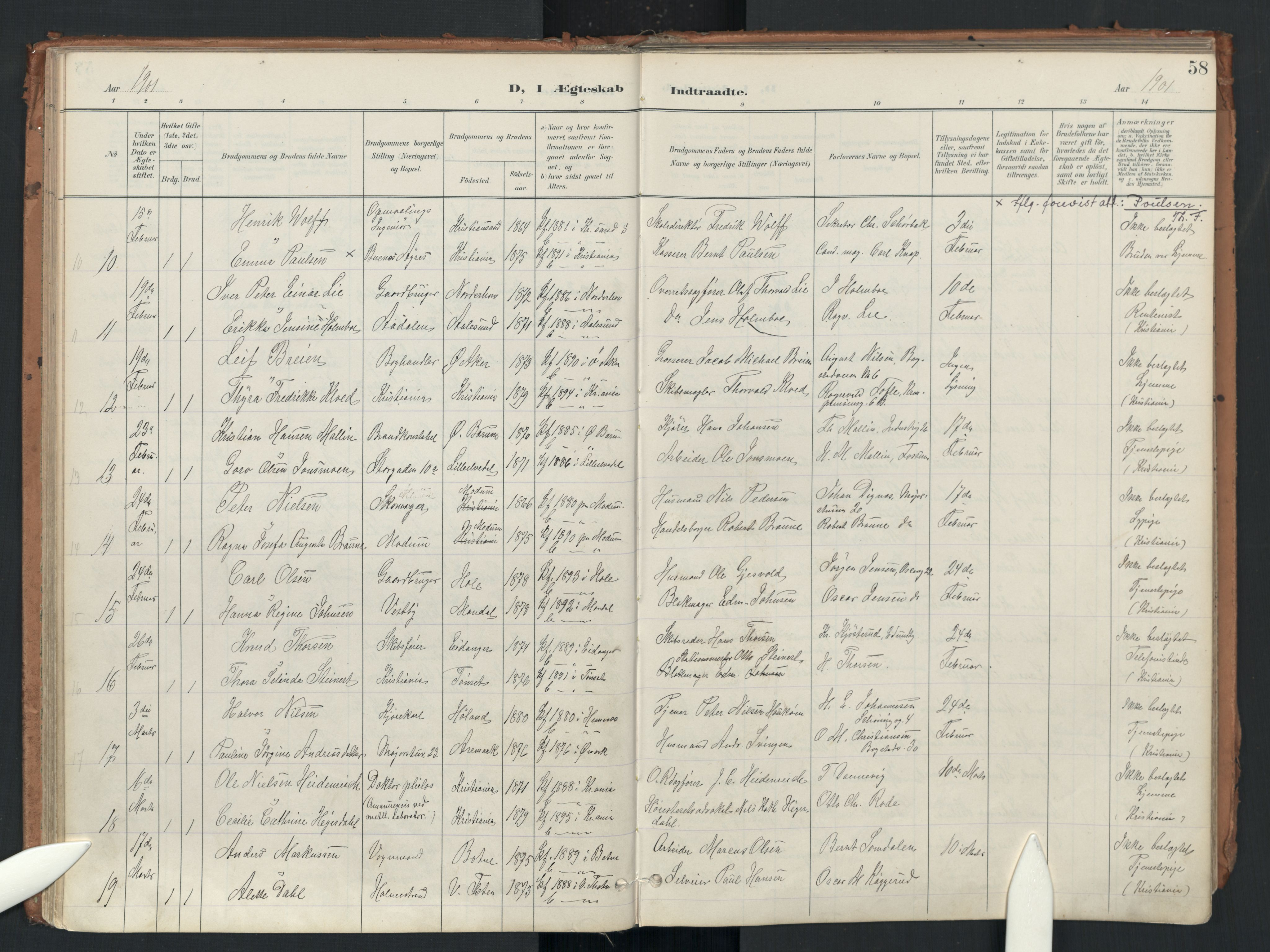 SAO, Uranienborg prestekontor Kirkebøker, F/Fa/L0007: Ministerialbok nr. 7, 1896-1914, s. 58