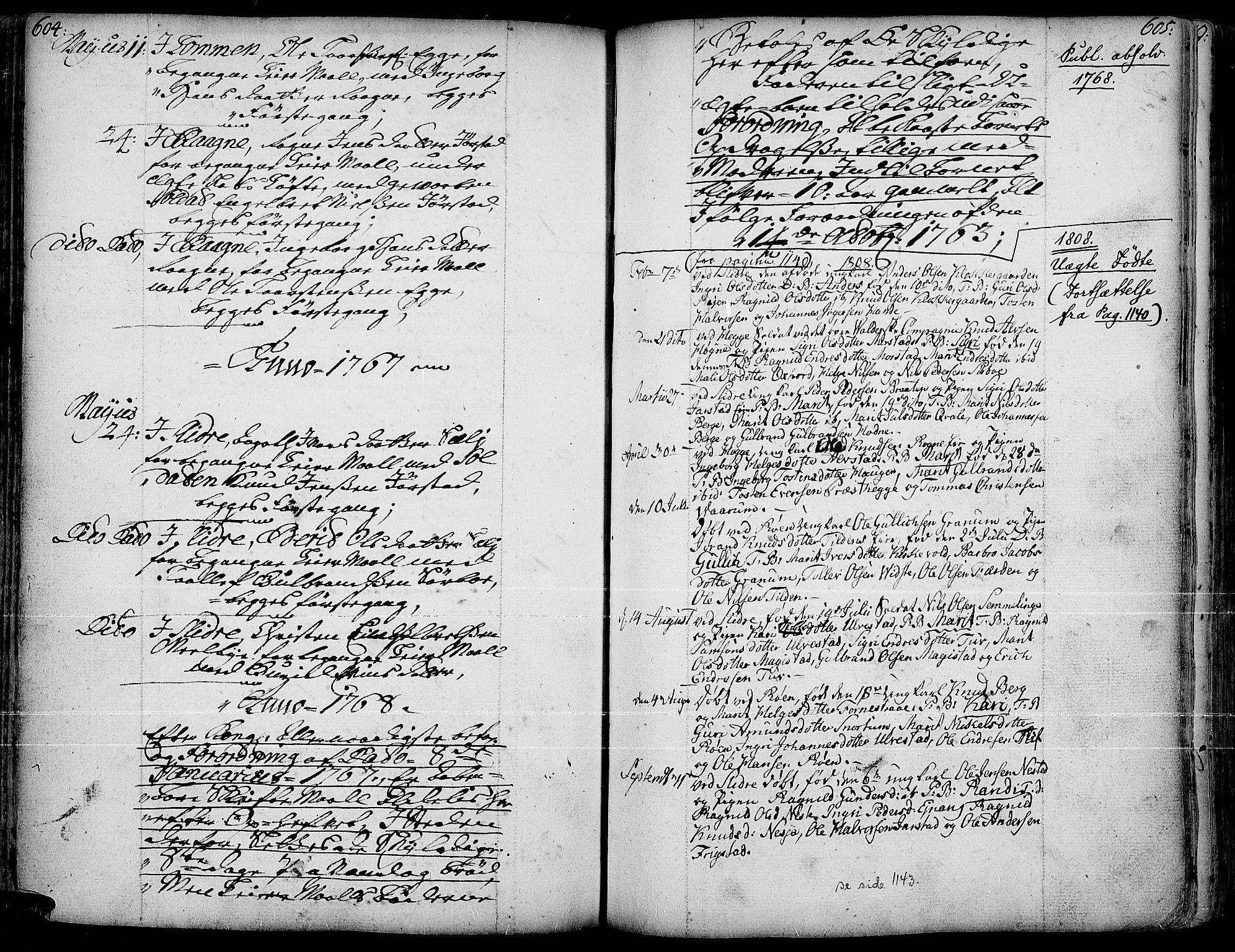 SAH, Slidre prestekontor, Ministerialbok nr. 1, 1724-1814, s. 604-605