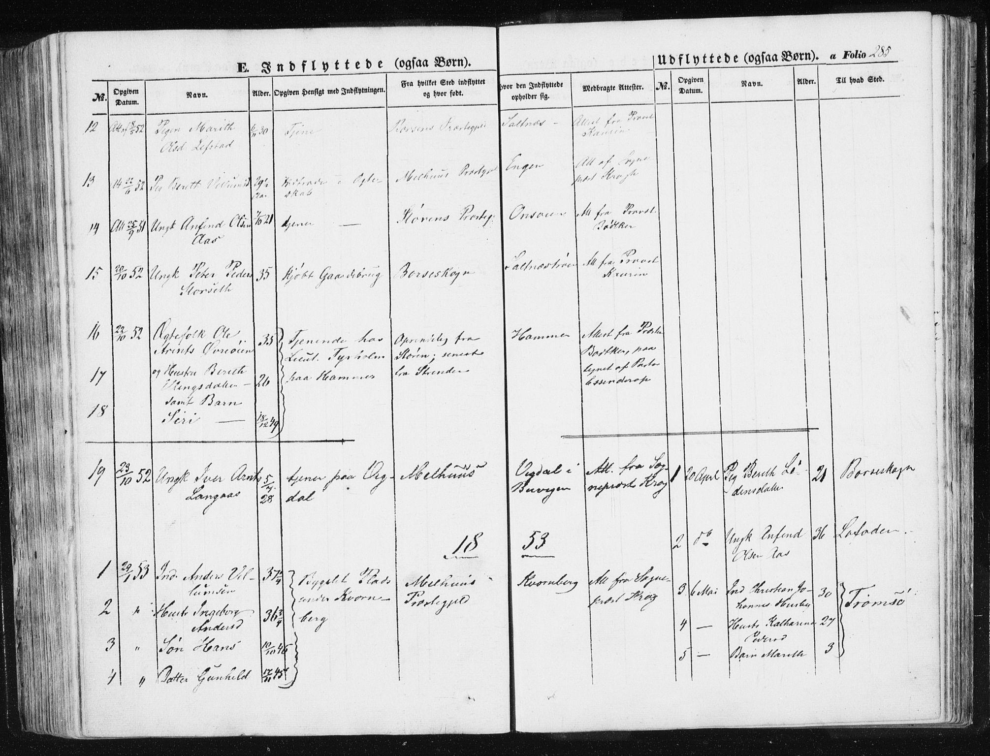 SAT, Ministerialprotokoller, klokkerbøker og fødselsregistre - Sør-Trøndelag, 612/L0376: Ministerialbok nr. 612A08, 1846-1859, s. 285