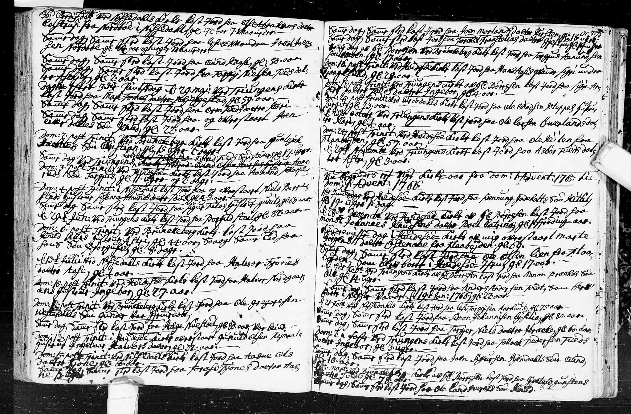 SAKO, Kviteseid kirkebøker, F/Fa/L0001: Ministerialbok nr. I 1, 1754-1773, s. 36-37