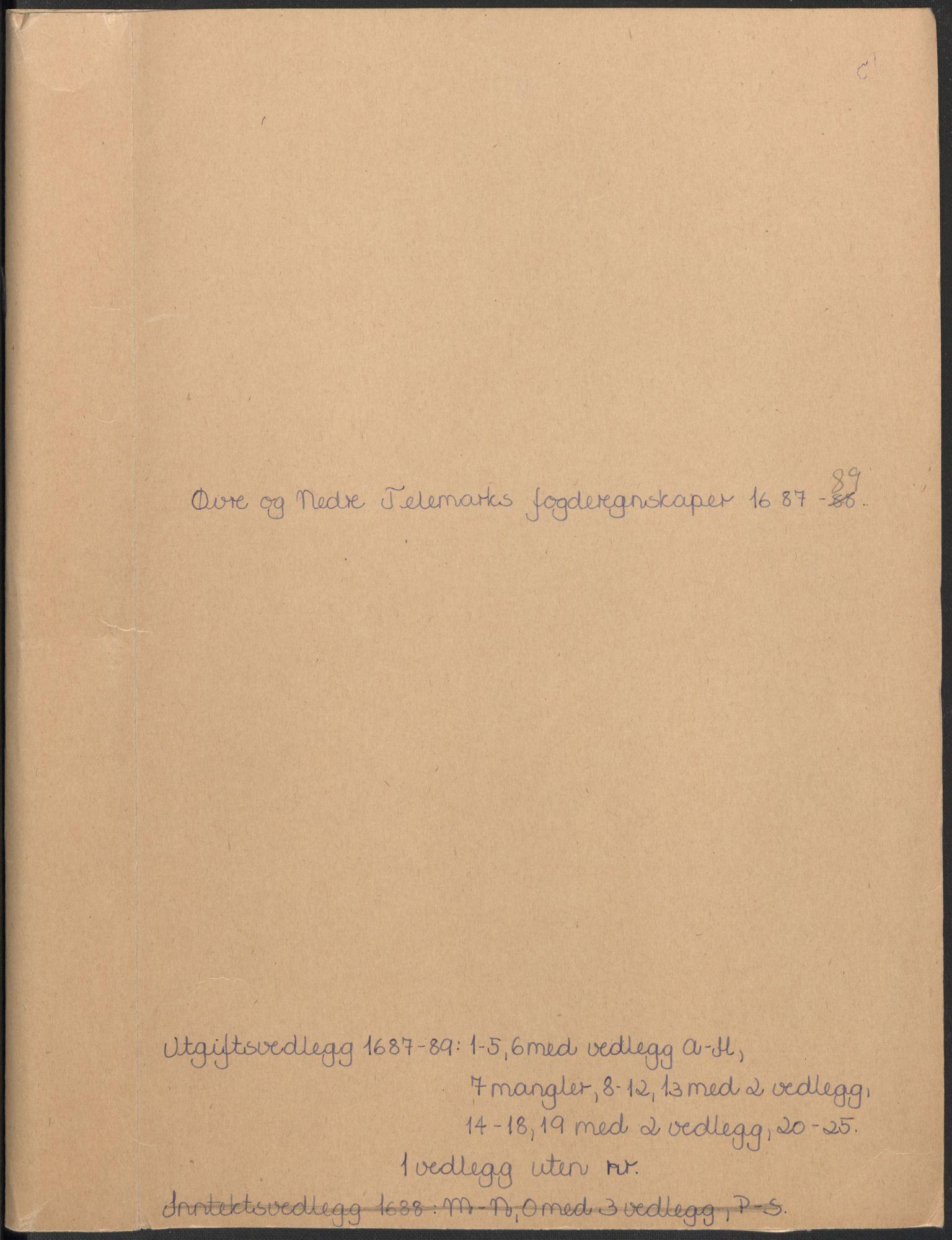 RA, Rentekammeret inntil 1814, Reviderte regnskaper, Fogderegnskap, R35/L2088: Fogderegnskap Øvre og Nedre Telemark, 1687-1689, s. 225