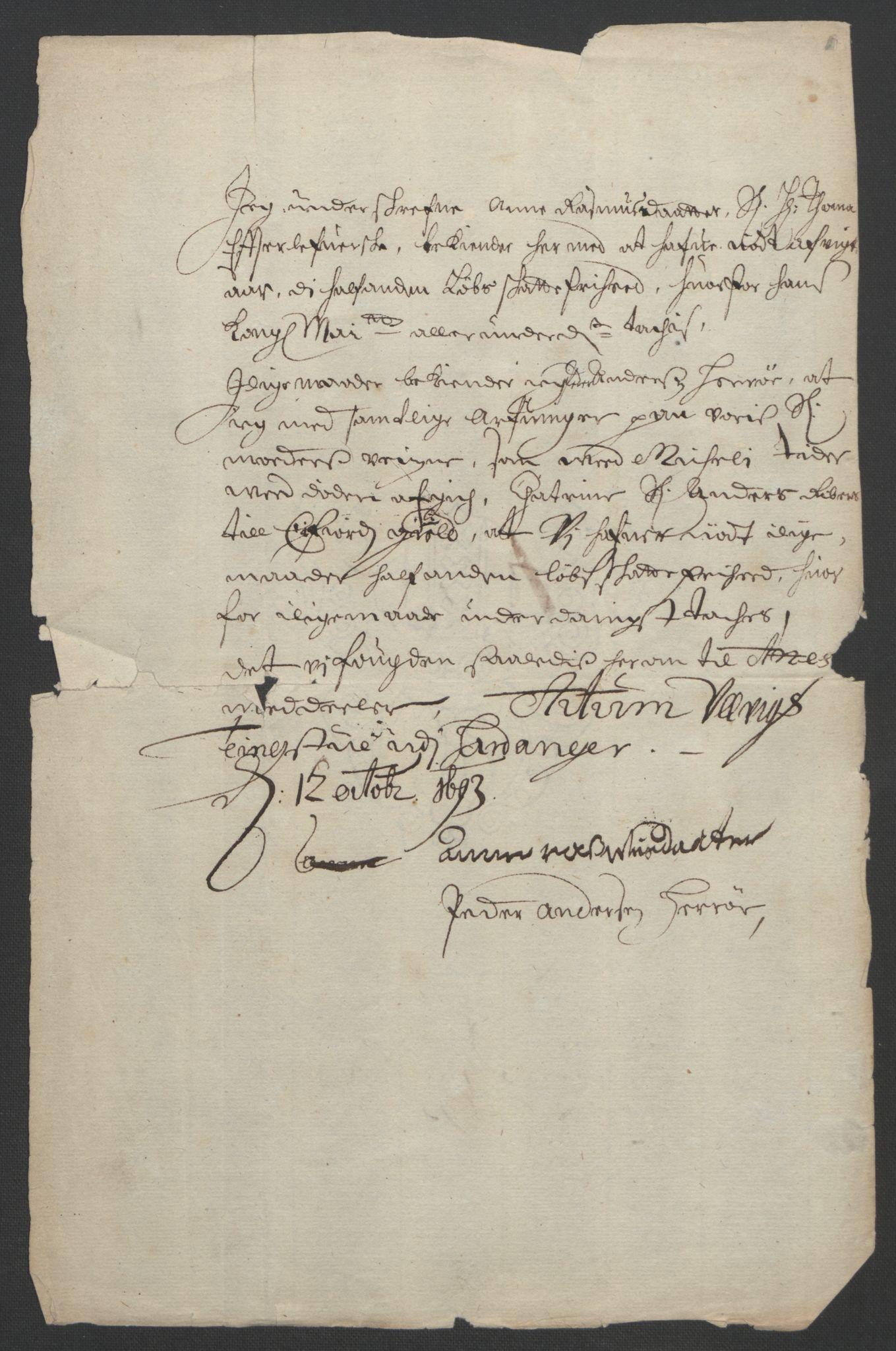 RA, Rentekammeret inntil 1814, Reviderte regnskaper, Fogderegnskap, R48/L2974: Fogderegnskap Sunnhordland og Hardanger, 1693, s. 262