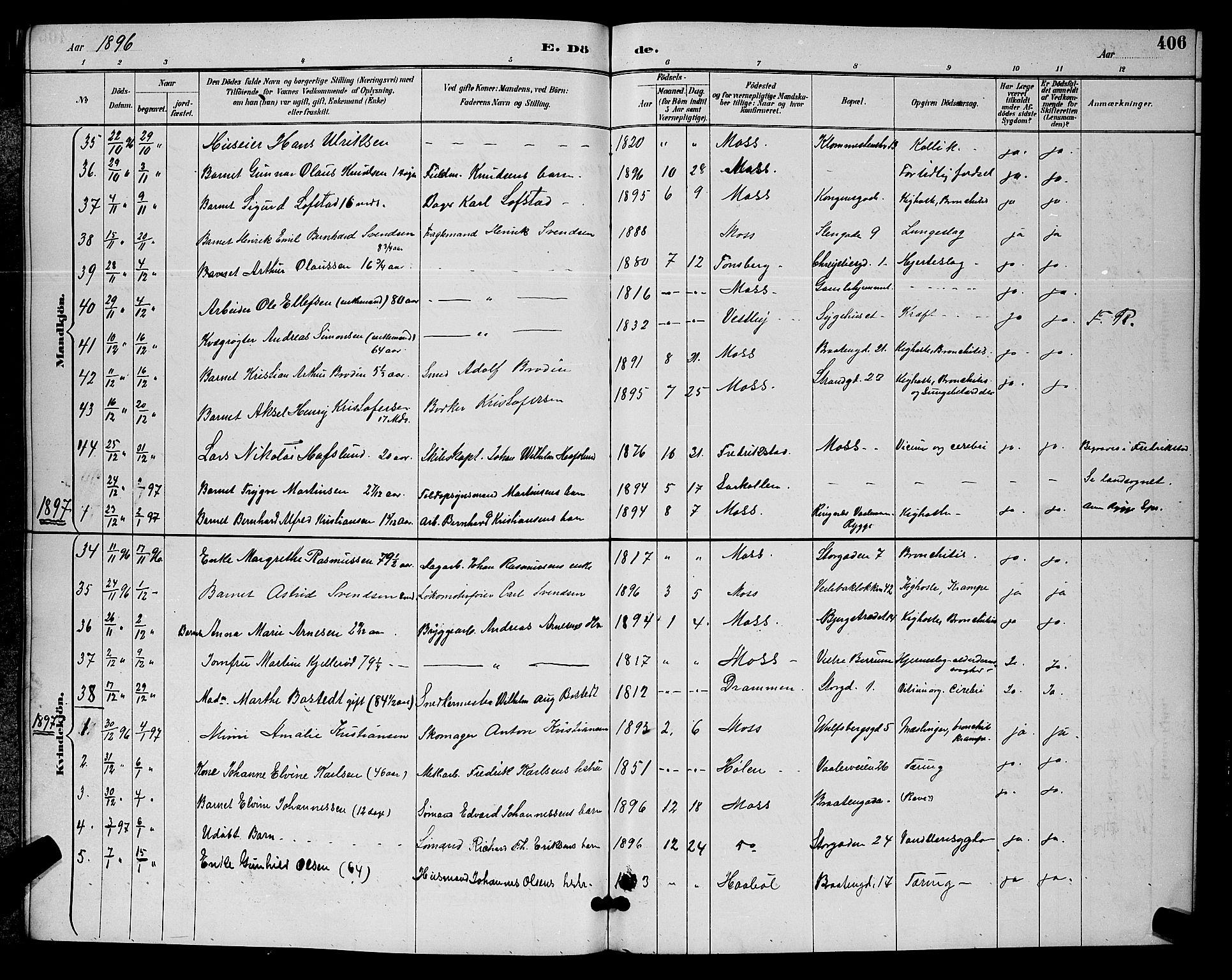SAO, Moss prestekontor Kirkebøker, G/Ga/L0006: Klokkerbok nr. I 6, 1889-1900, s. 406