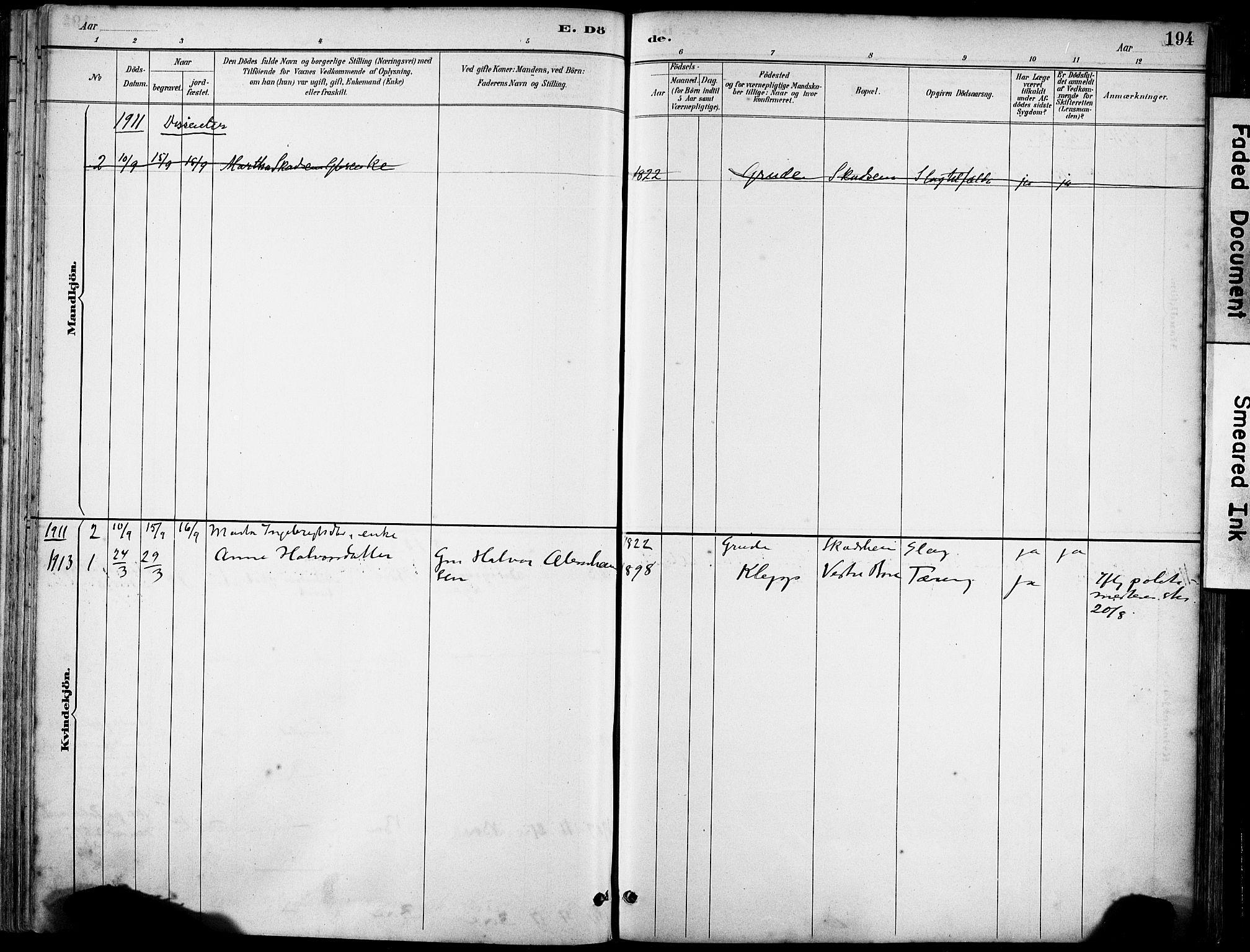 SAST, Klepp sokneprestkontor, 30BA/L0008: Ministerialbok nr. A 9, 1886-1919, s. 194