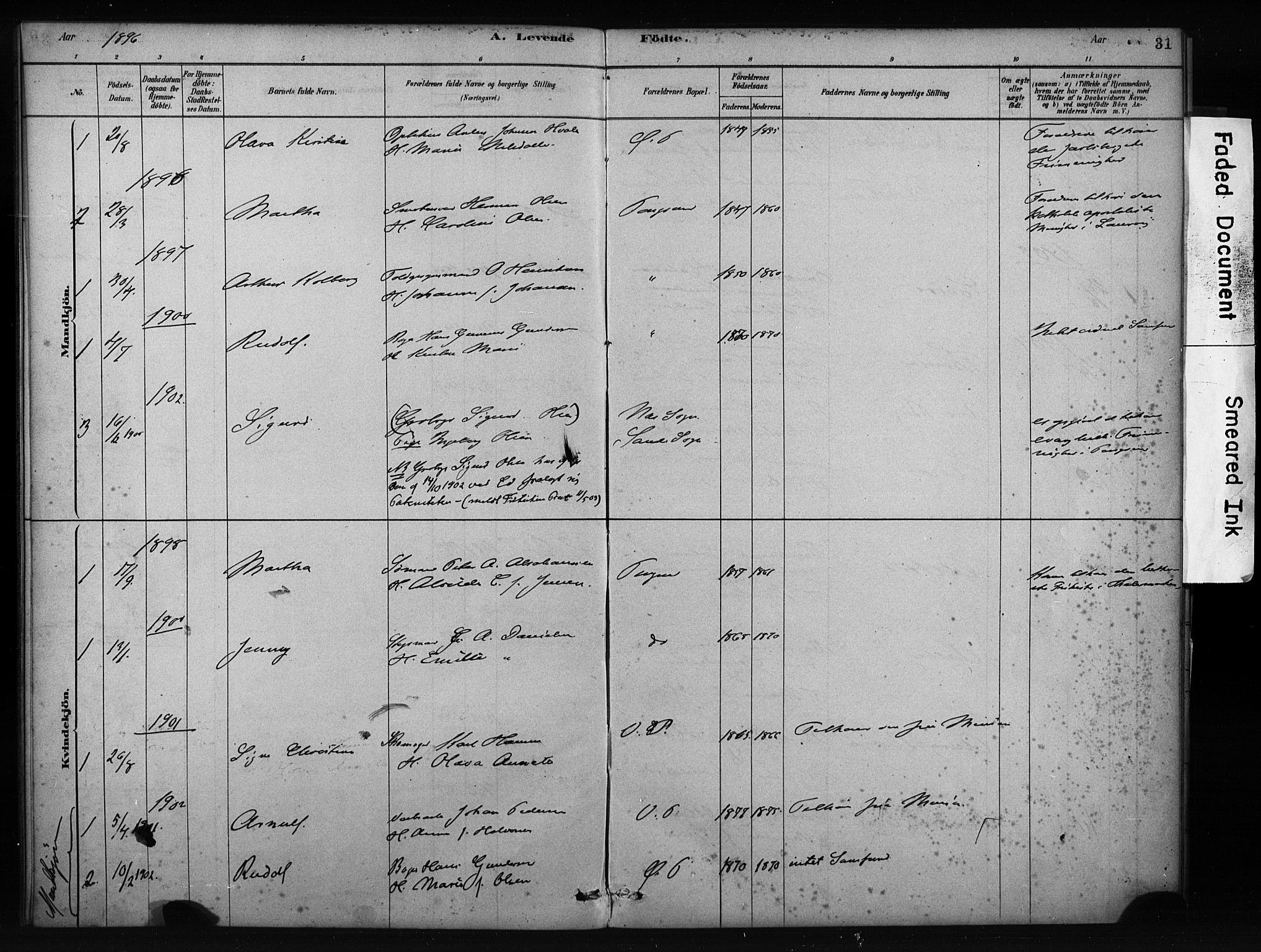 SAKO, Porsgrunn kirkebøker , F/Fa/L0009: Ministerialbok nr. 9, 1878-1923, s. 31