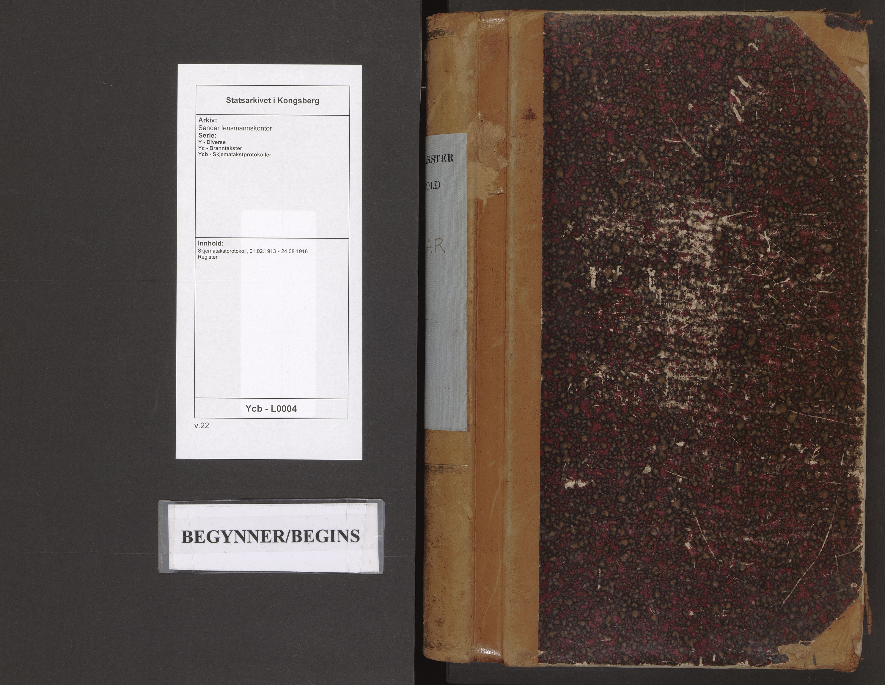 SAKO, Sandar lensmannskontor, Y/Yc/Ycb/L0004: Skjematakstprotokoll, 1913-1916
