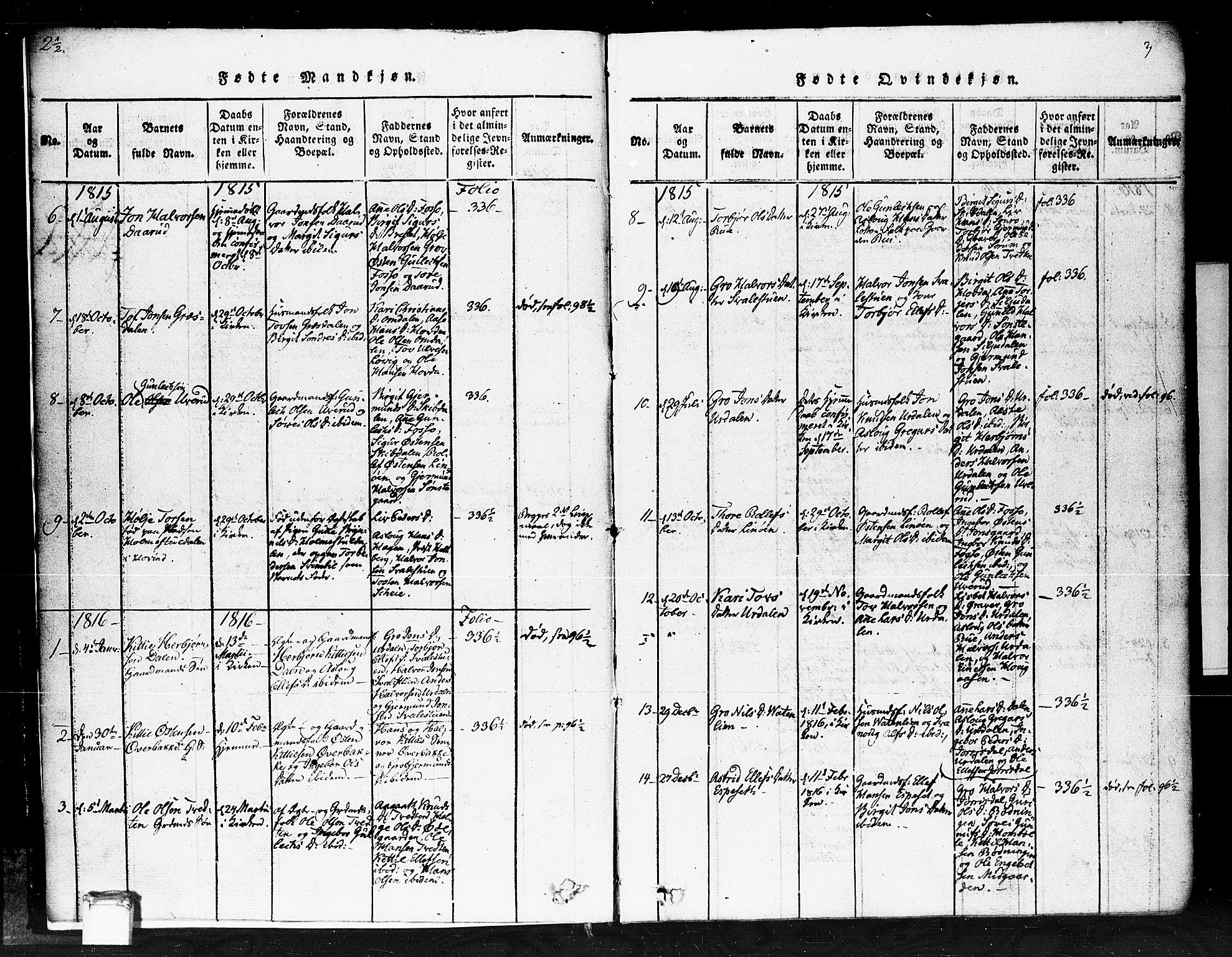 SAKO, Gransherad kirkebøker, F/Fb/L0002: Ministerialbok nr. II 2, 1815-1843, s. 3
