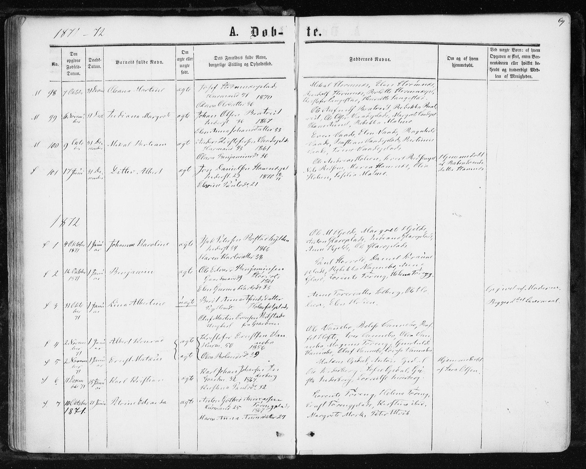 SAT, Ministerialprotokoller, klokkerbøker og fødselsregistre - Nord-Trøndelag, 741/L0394: Ministerialbok nr. 741A08, 1864-1877, s. 69