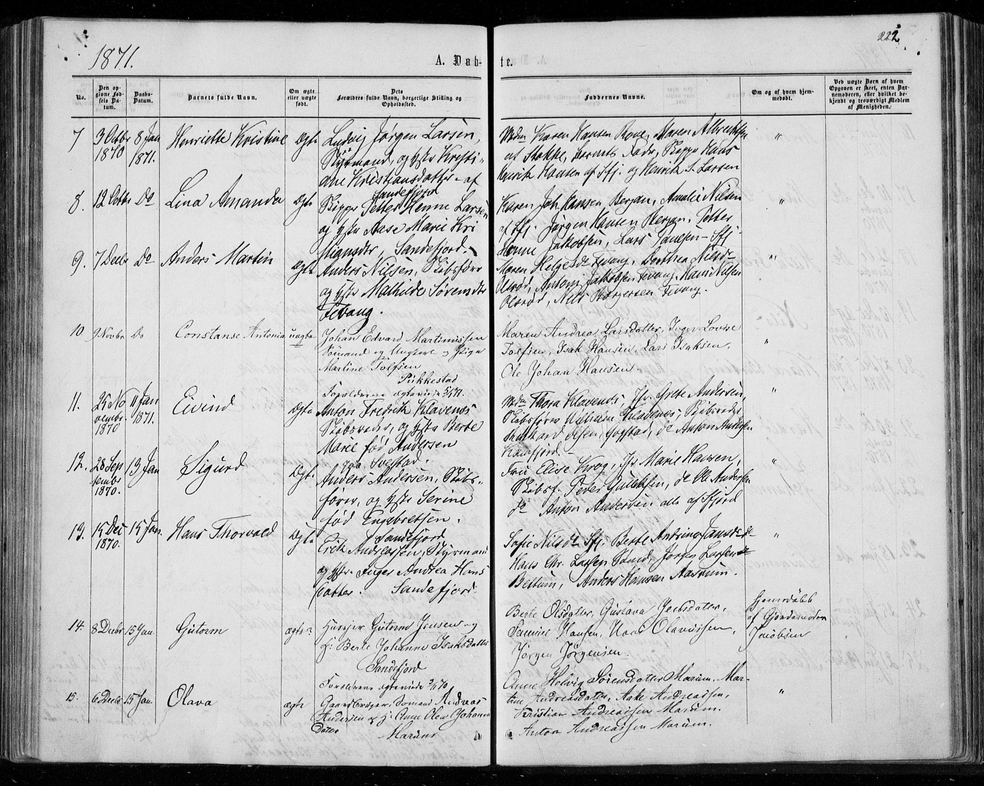 SAKO, Sandar kirkebøker, F/Fa/L0008: Ministerialbok nr. 8, 1862-1871, s. 222