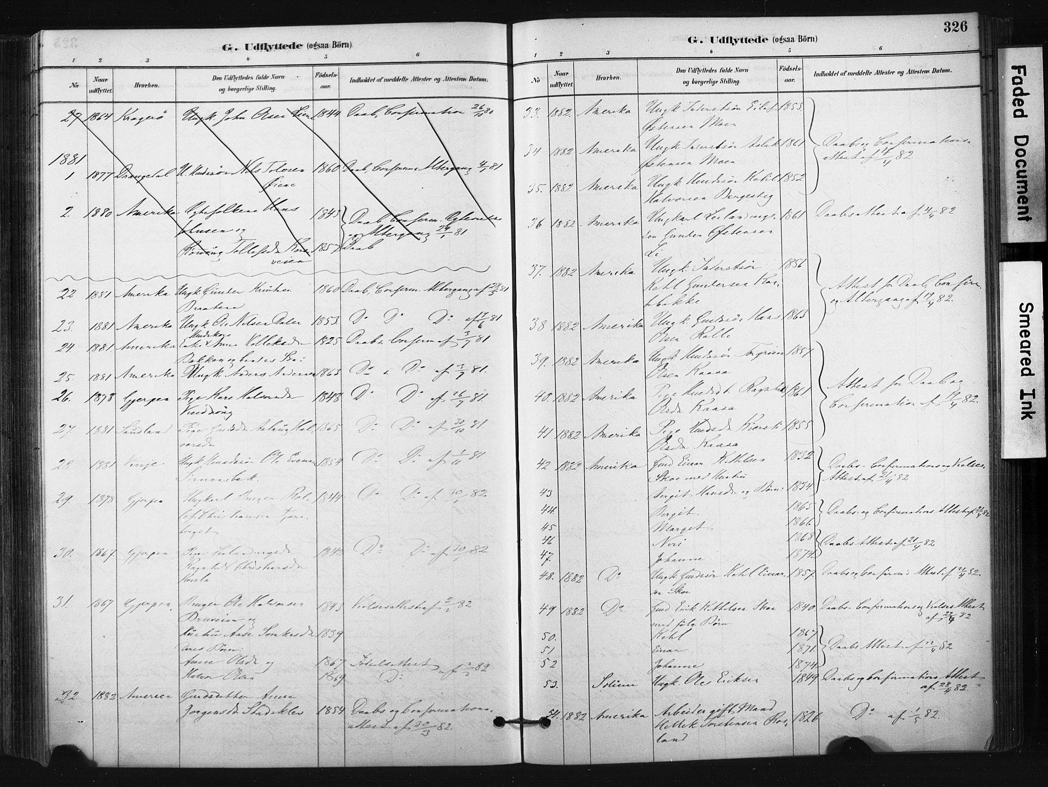 SAKO, Bø kirkebøker, F/Fa/L0010: Ministerialbok nr. 10, 1880-1892, s. 326