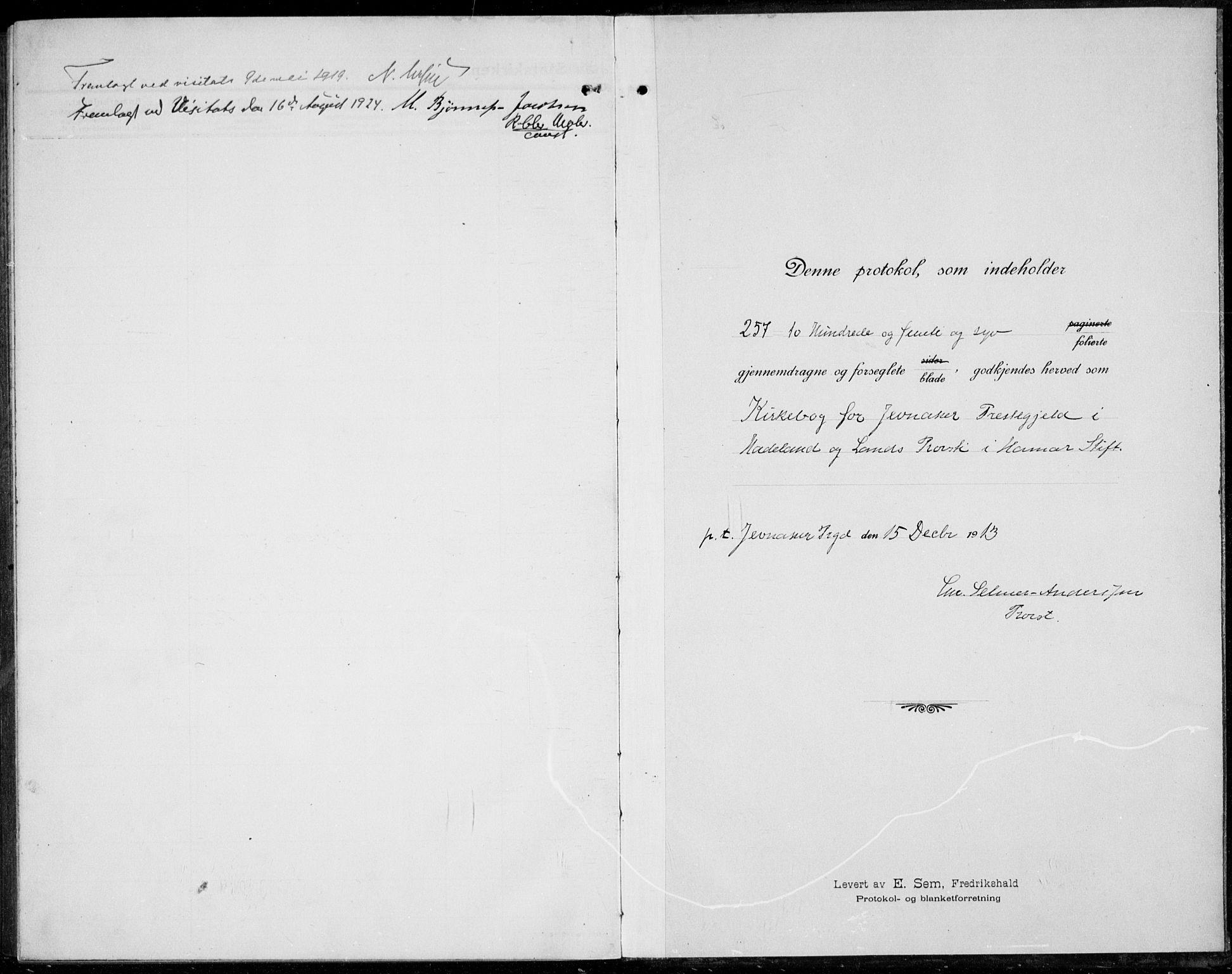 SAH, Jevnaker prestekontor, Ministerialbok nr. 12, 1914-1924